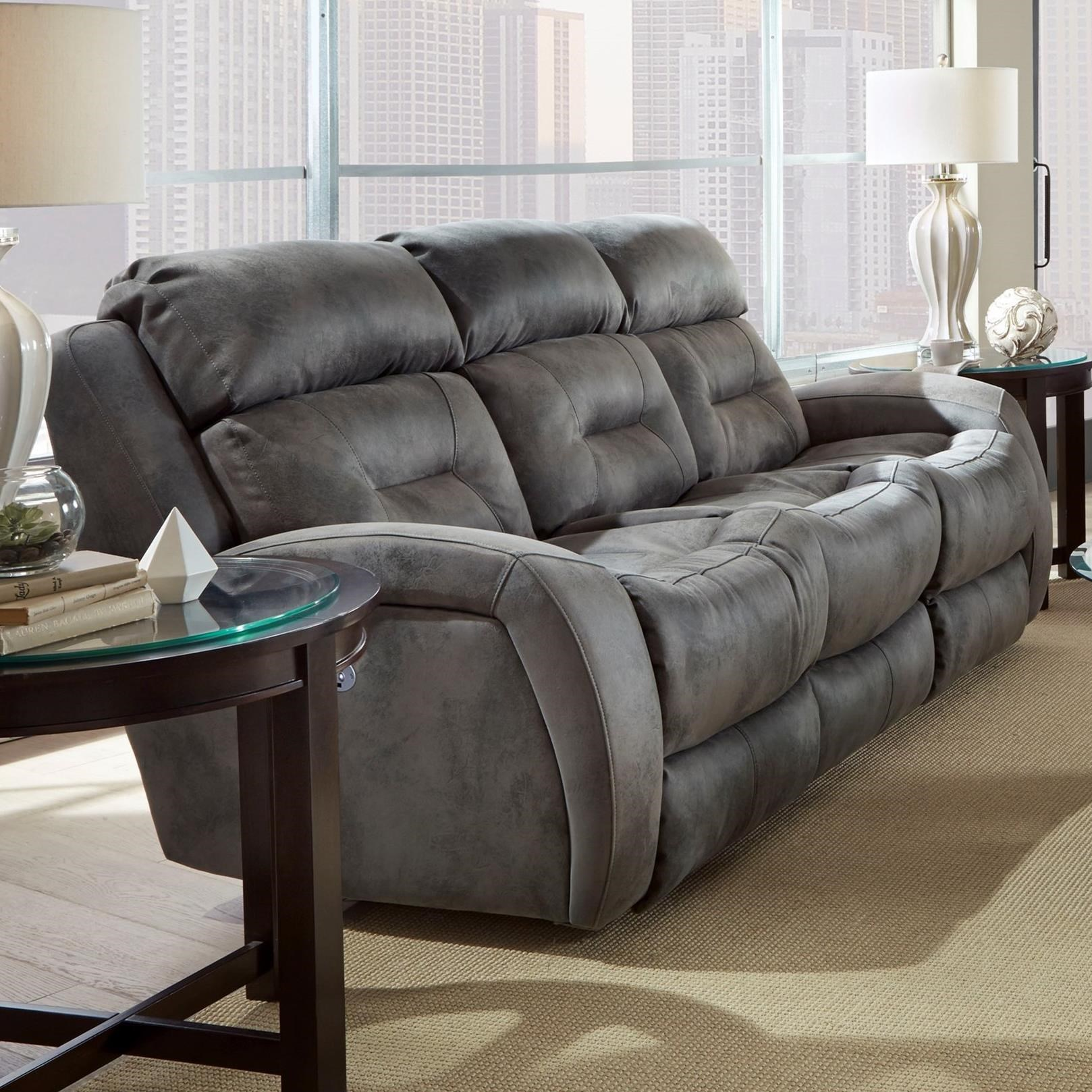 Double Reclining Sofa With Power Headrest And Drop Down Table By