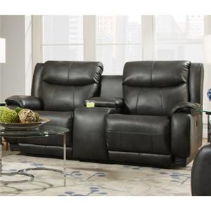 Southern Motion Velocity Reclining Console Sofa with <b>Power</b> Hea