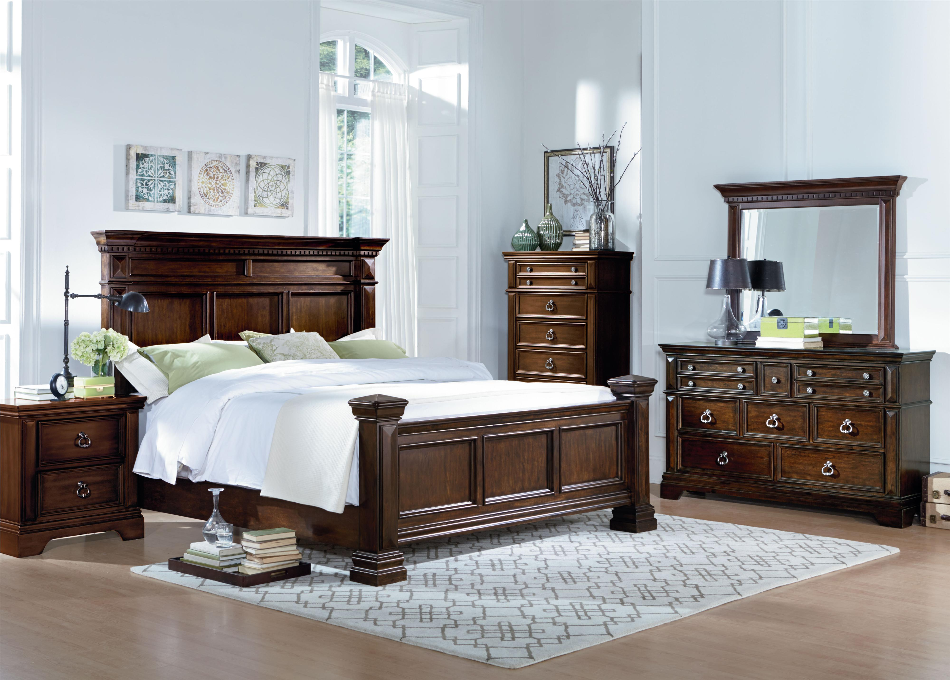 Traditional king panel bed with dentil molding by standard - King bedroom sets with mattress included ...