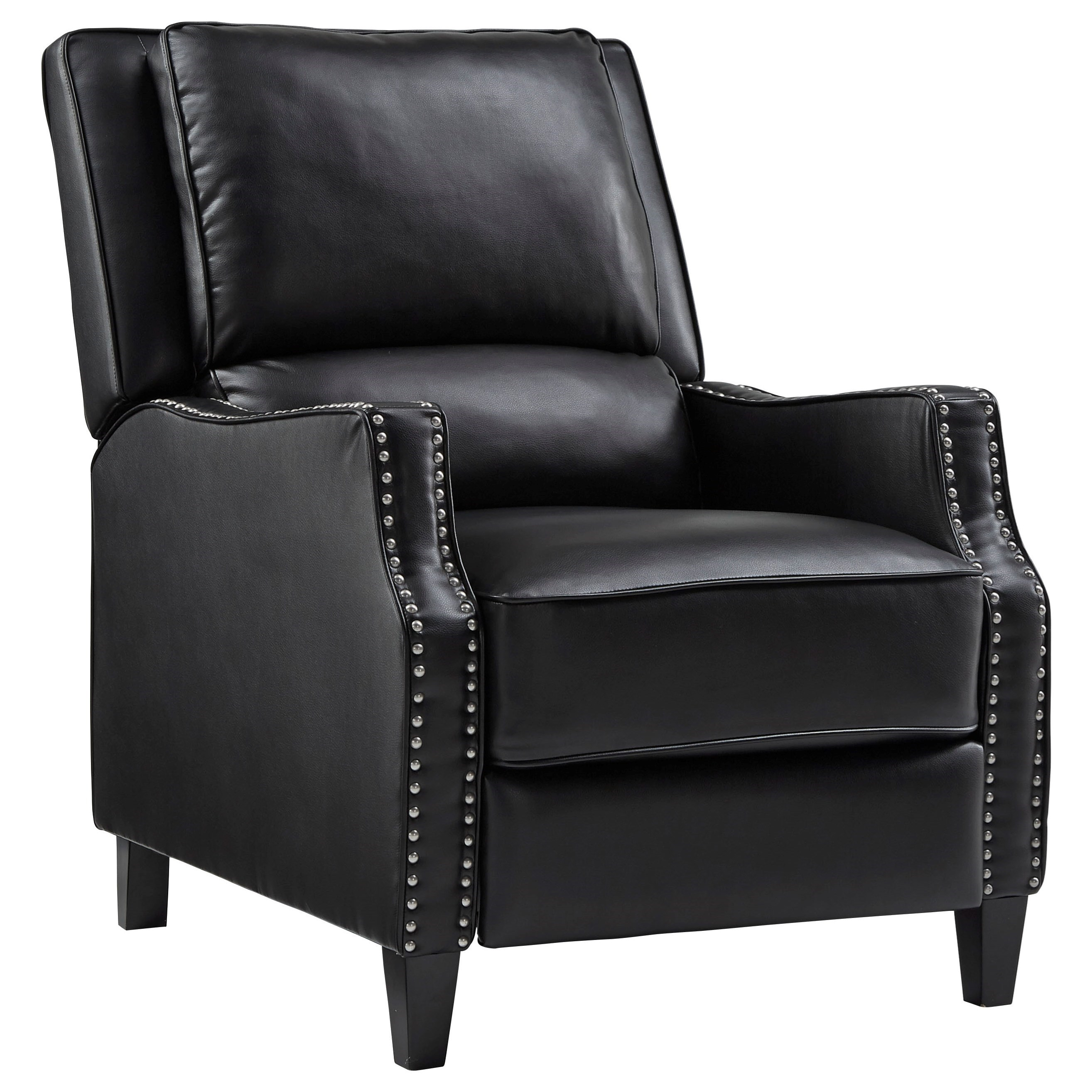 Sleek Recliner with Tight Upholstery and Nailhead Trim
