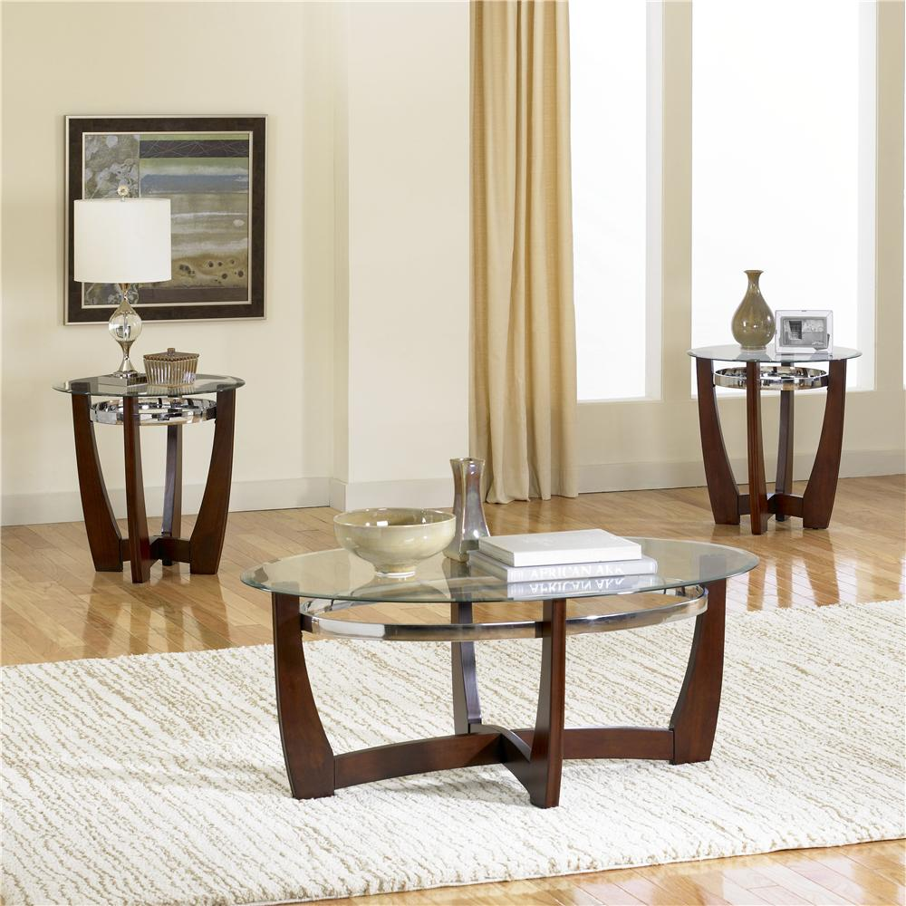 3 Pack With Glass Top Cocktail Table And 2 Glass Top End Tables