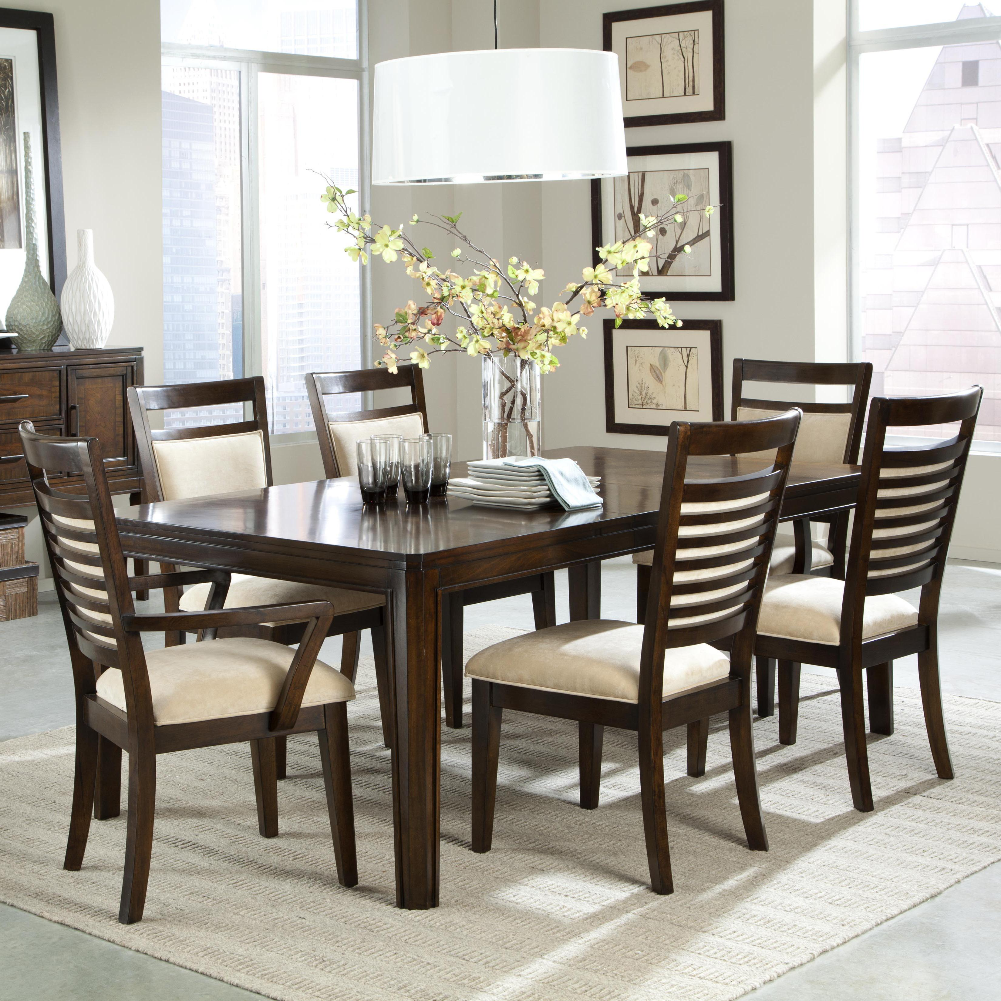 7 Piece Dining Table Set & 7 Piece Dining Table Set and Upholstered Chairs with Ladder Back ...