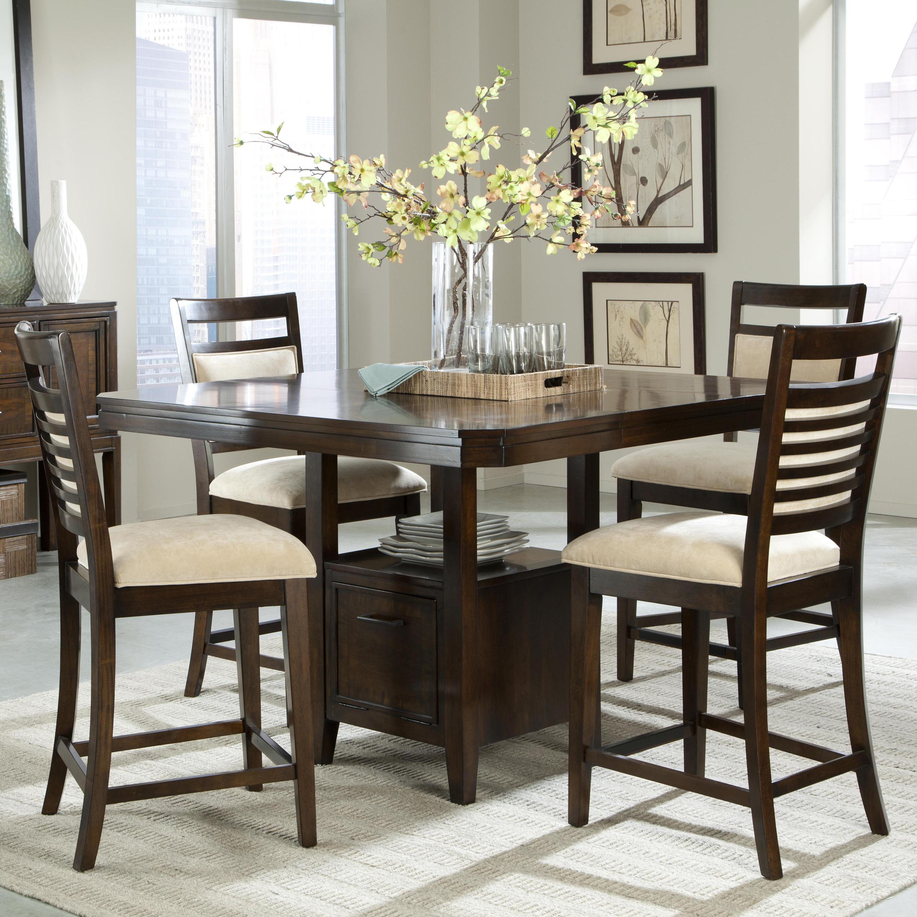 5 piece counter height table set and upholstered counter height chairs with ladder back wood detailing