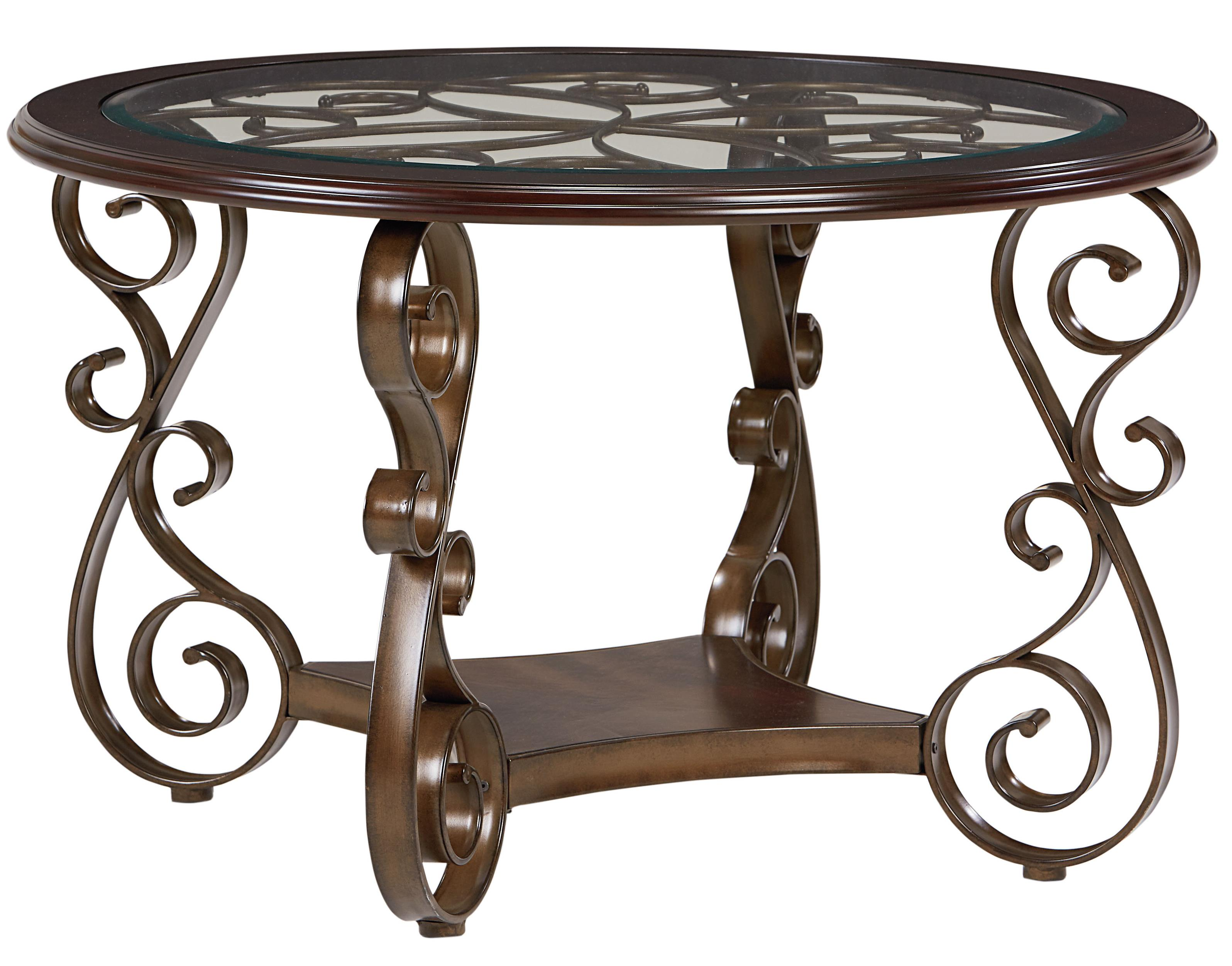 Scrolled Metal And Wood Coffee Table - Round dining table with metal scroll pattern
