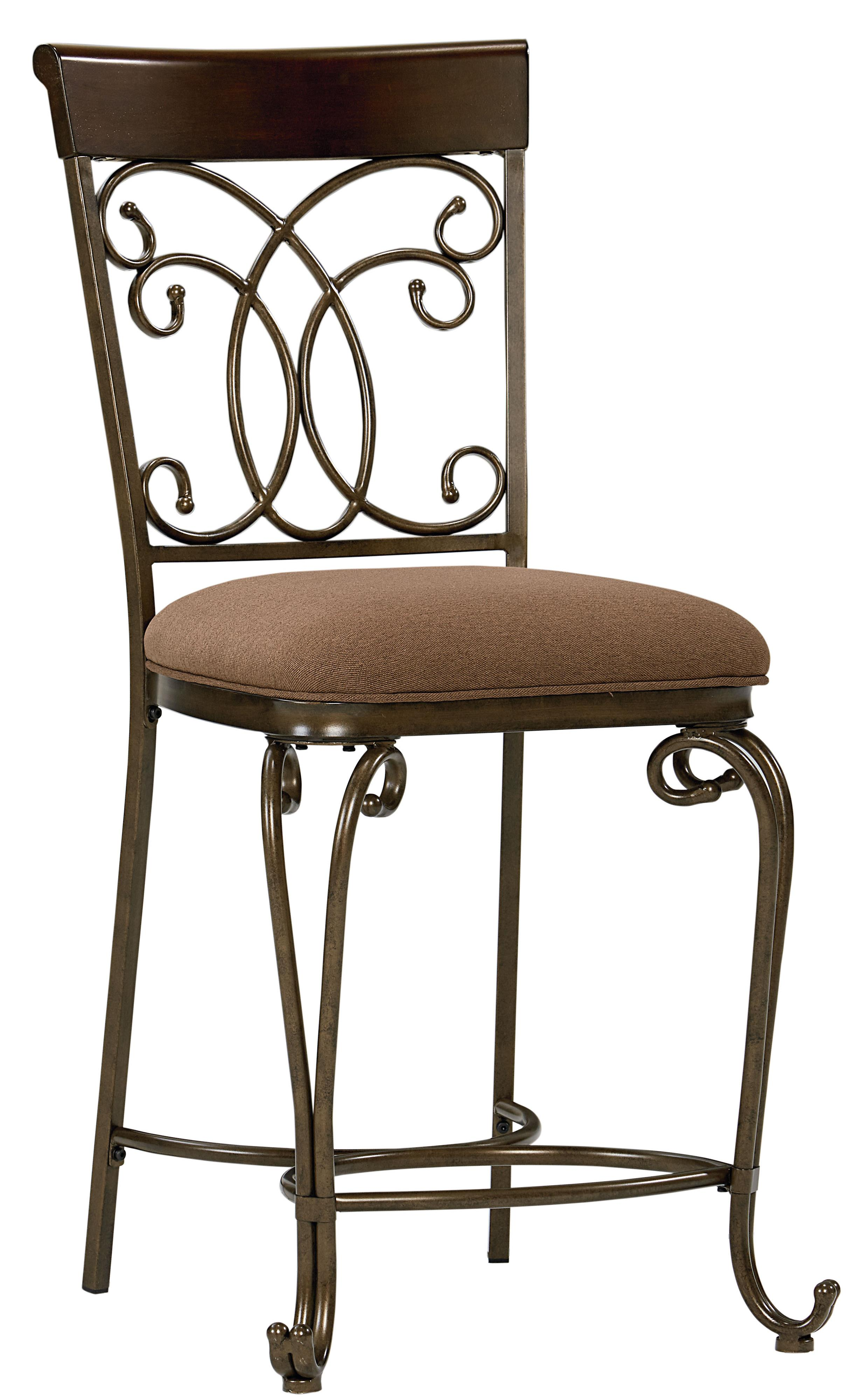 Upholstered Counter Height Chair With Ornate Metal Back by