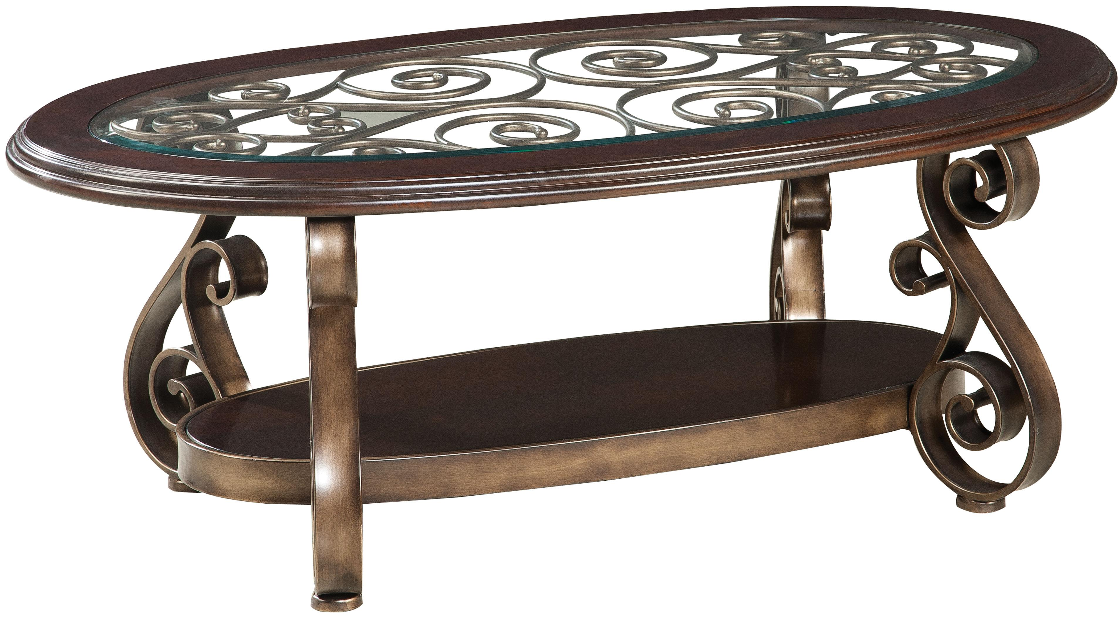 Old World Cocktail Table With Glass Top And S Scroll Legs