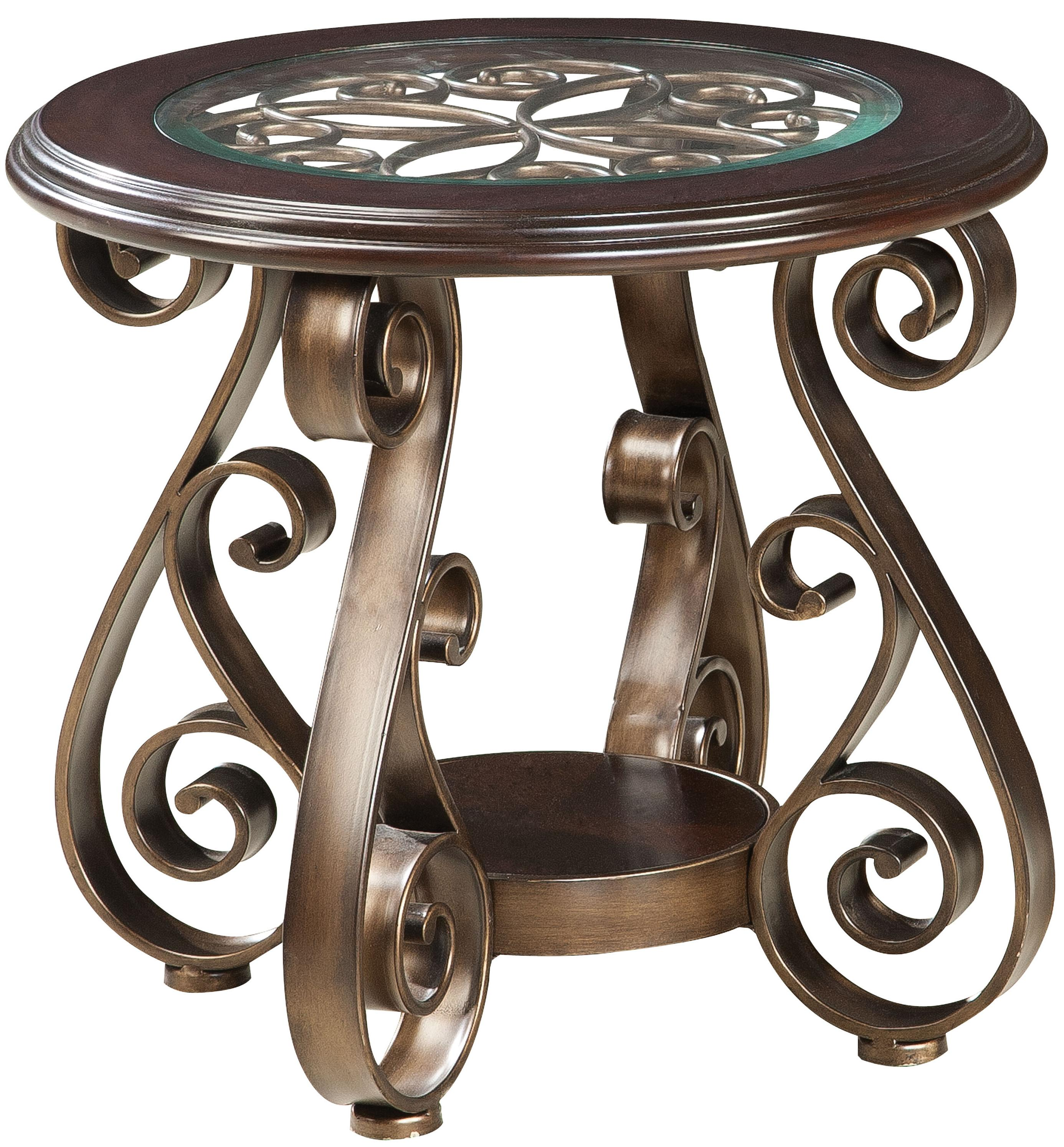 Old World End Table with Glass Top and S Scroll Legs by Standard