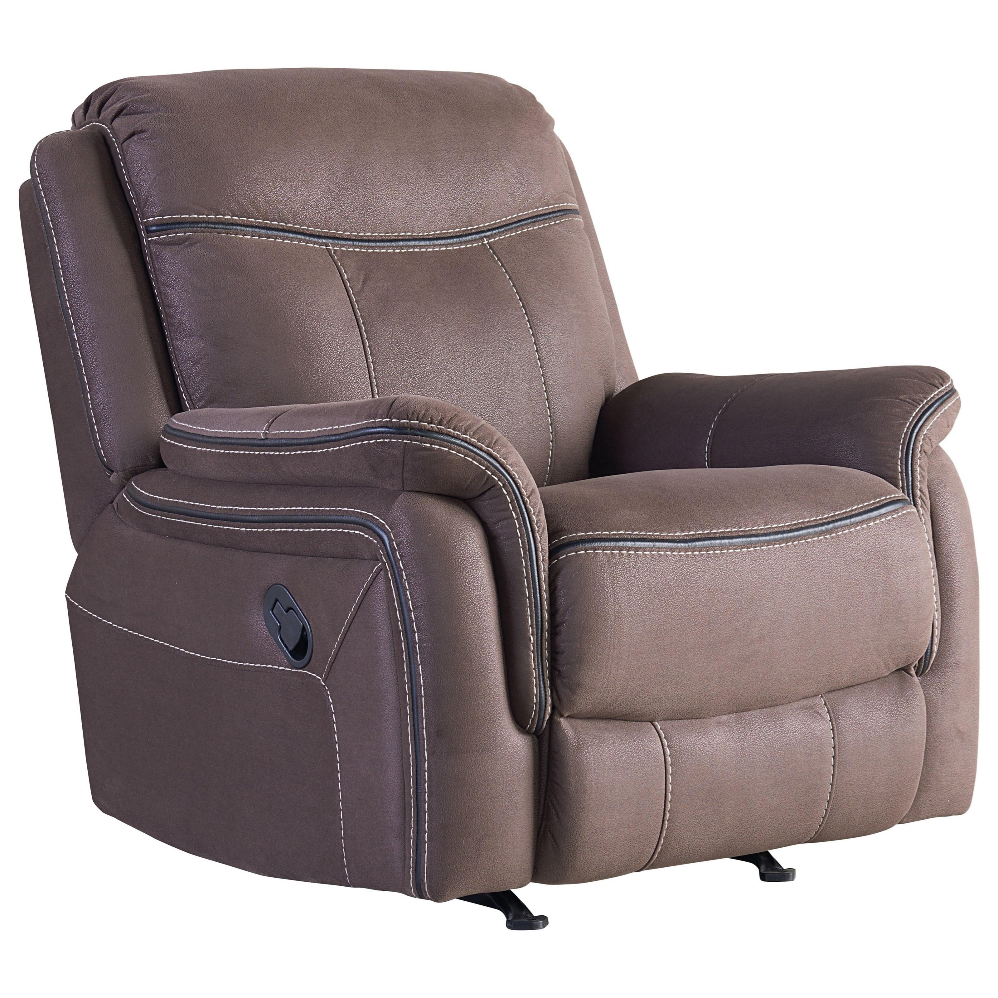 Manual Rocker Recliner With Luggage Style Topstitching