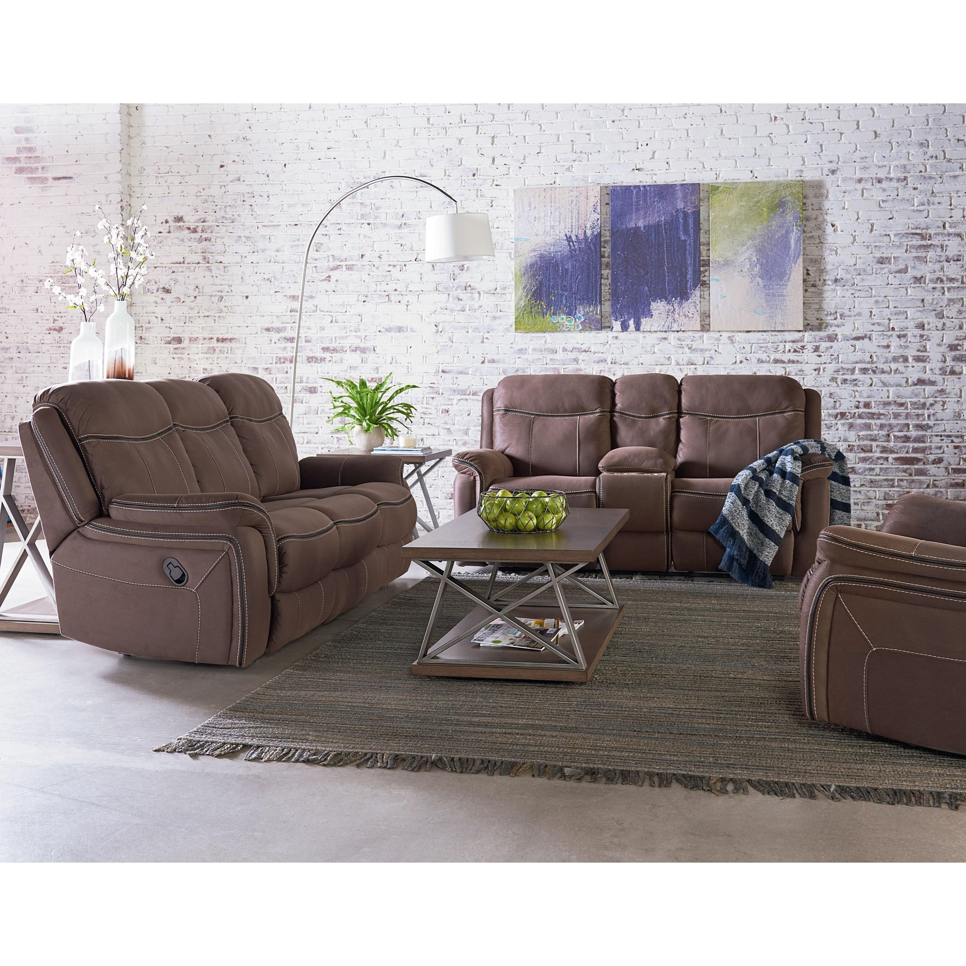 Manual Rocker Recliner With Luggage Style Topstitching. By Standard  Furniture