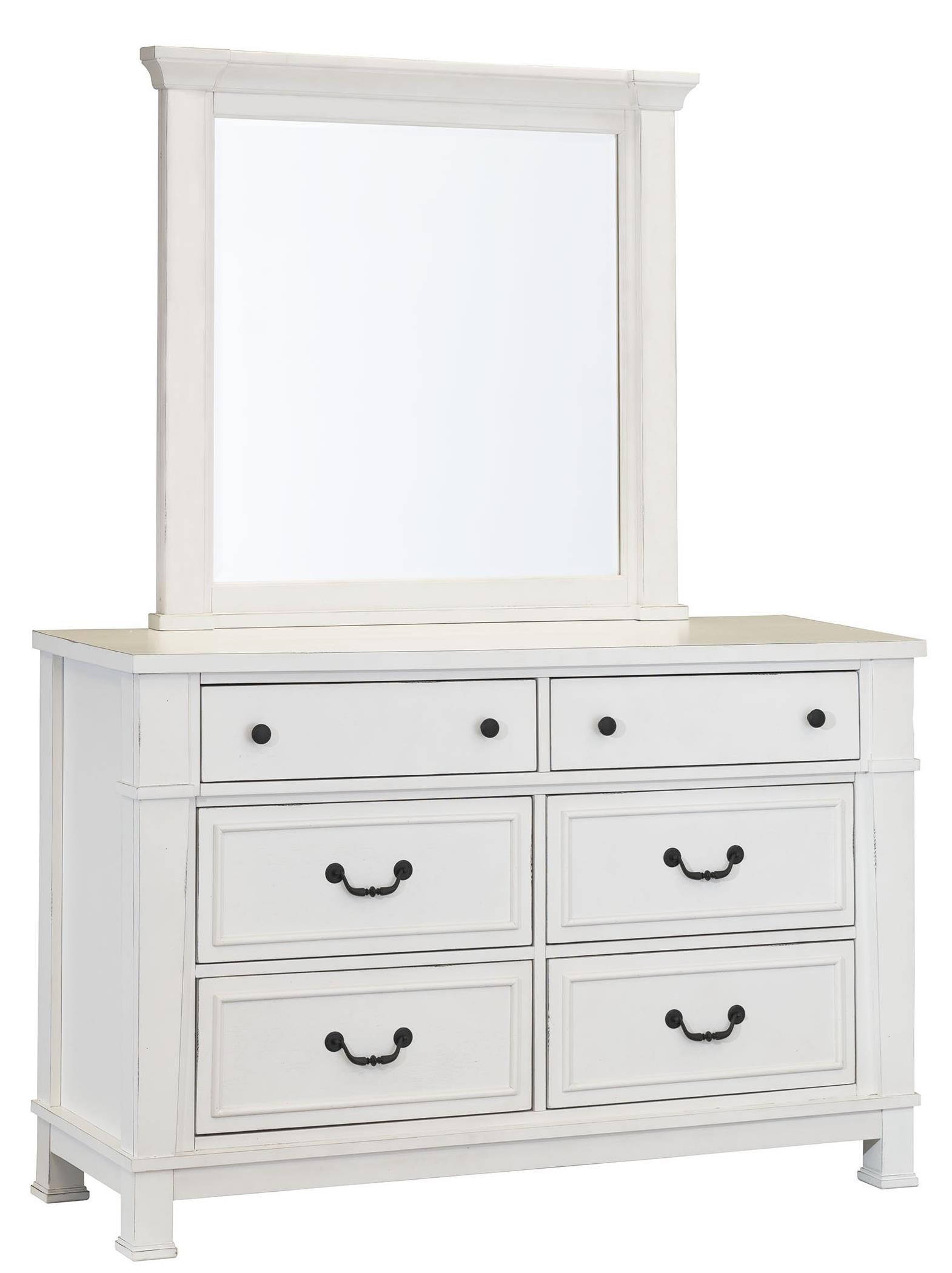 Youth bedroom vintage white dresser and mirror set by standard furniture wolf and gardiner wolf furniture
