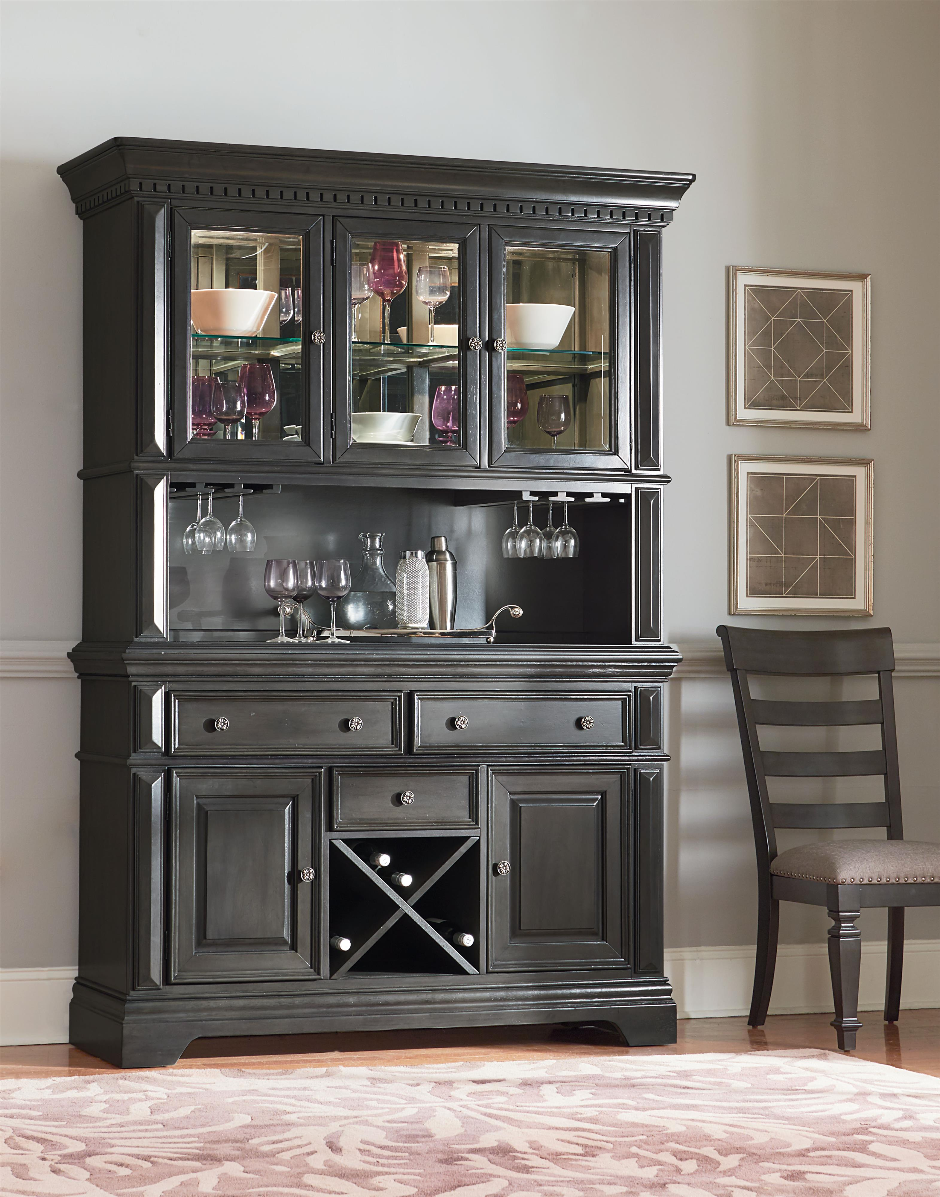 Traditionally Styled China Cabinet With Smooth Grey Finish By