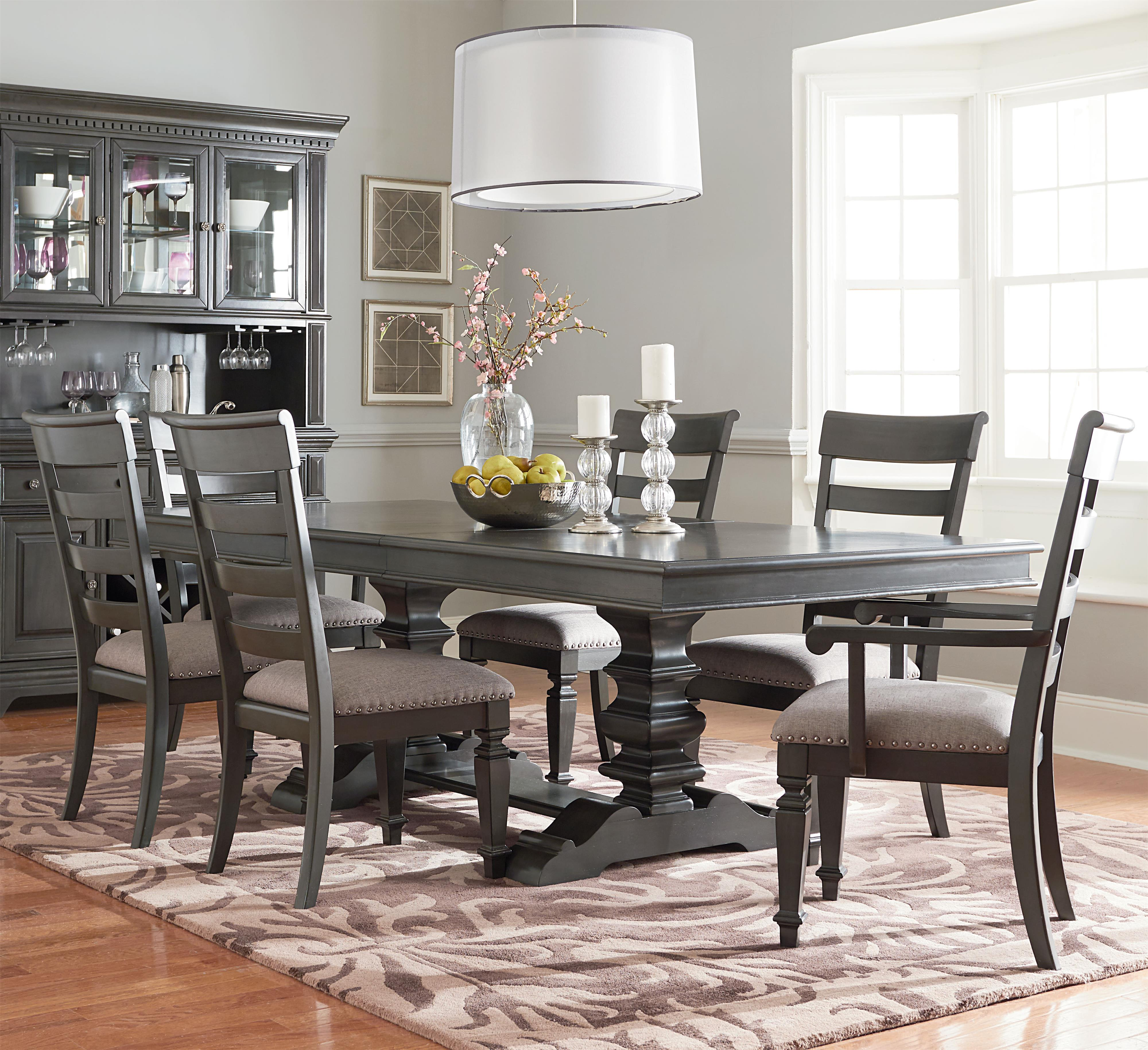 Trestle Table Dining Set With Six Chairs By Standard