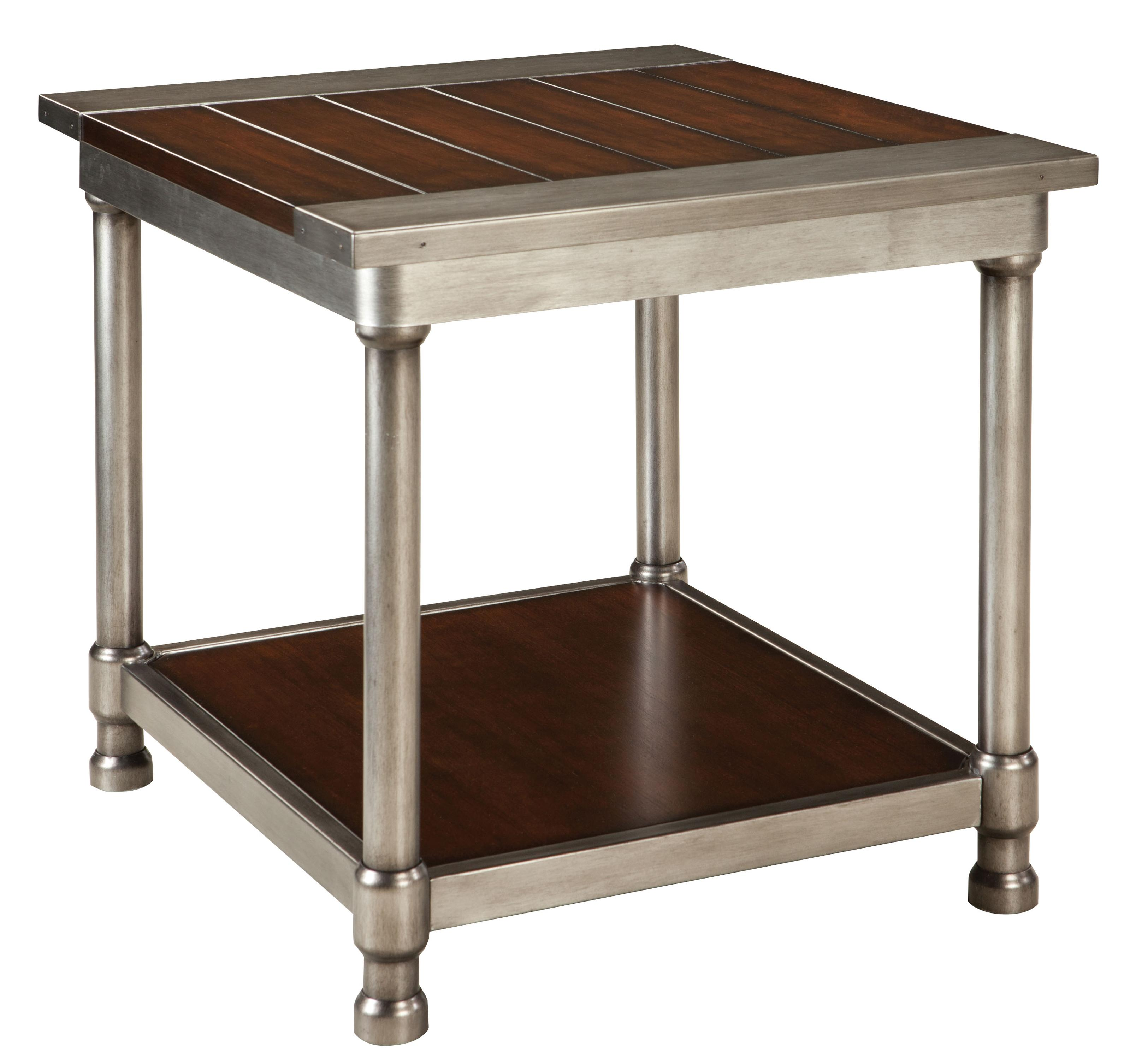Metal End Tables ~ Contemporary single shelf end table with plank style wood