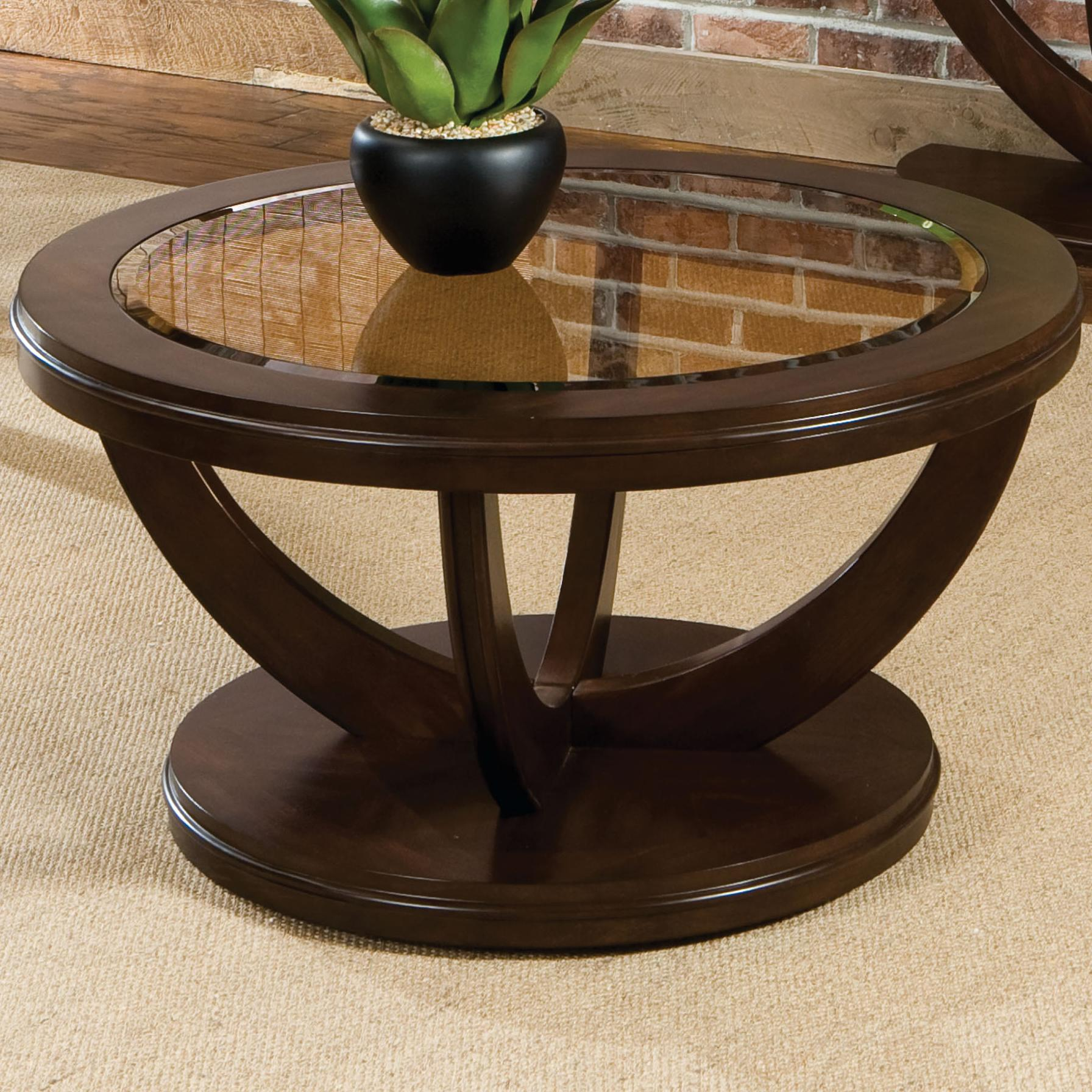 Round Cocktail Table With Glass Top By Standard Furniture