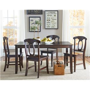 5 Piece Dining Table Set With Open Oval Splat Back Chairs