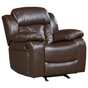 Rocker Recliner with Pillow Arms and Pub Headrest