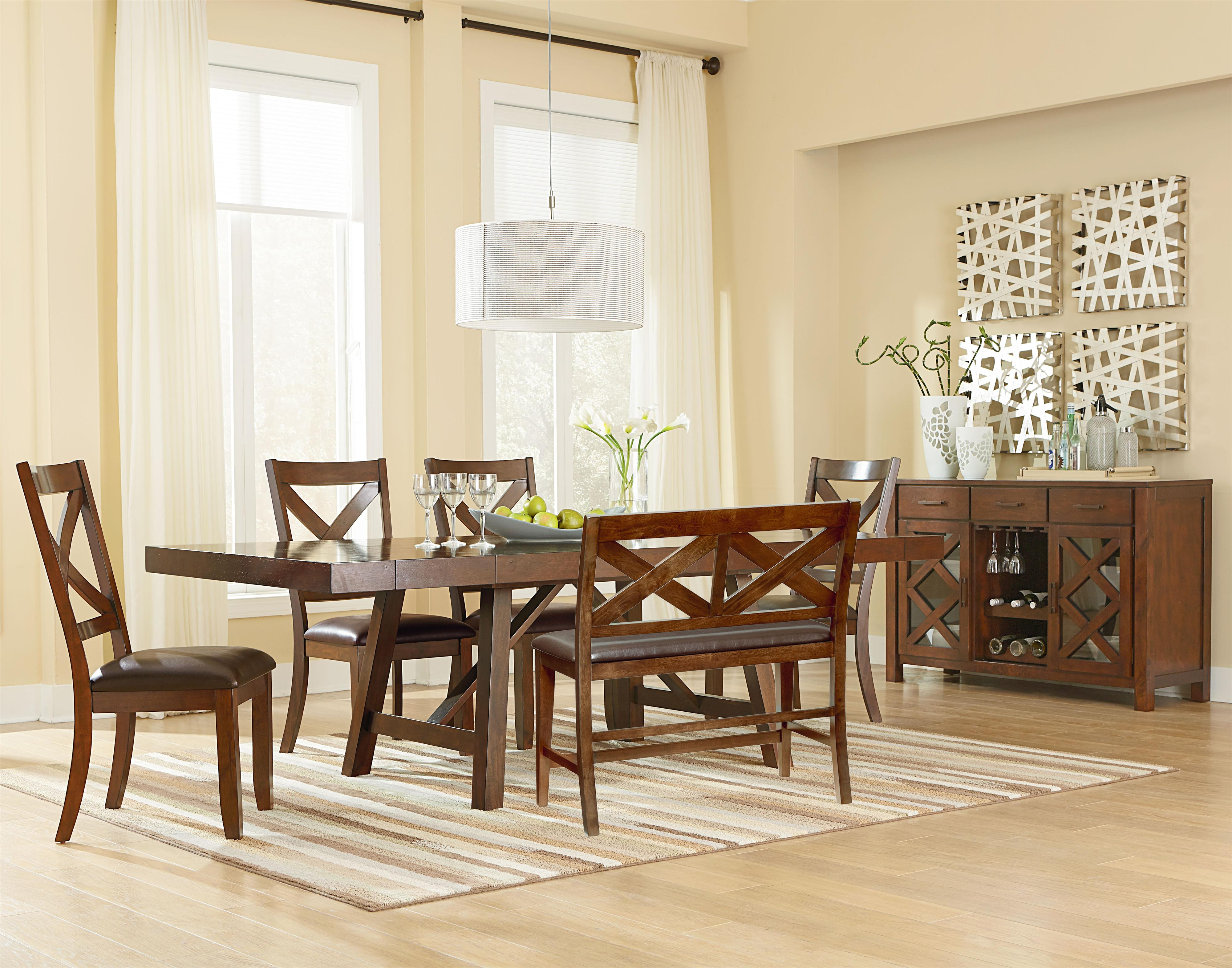 Dining Room Furniture Ottawa Trestle Table With Two Leaves By Standard