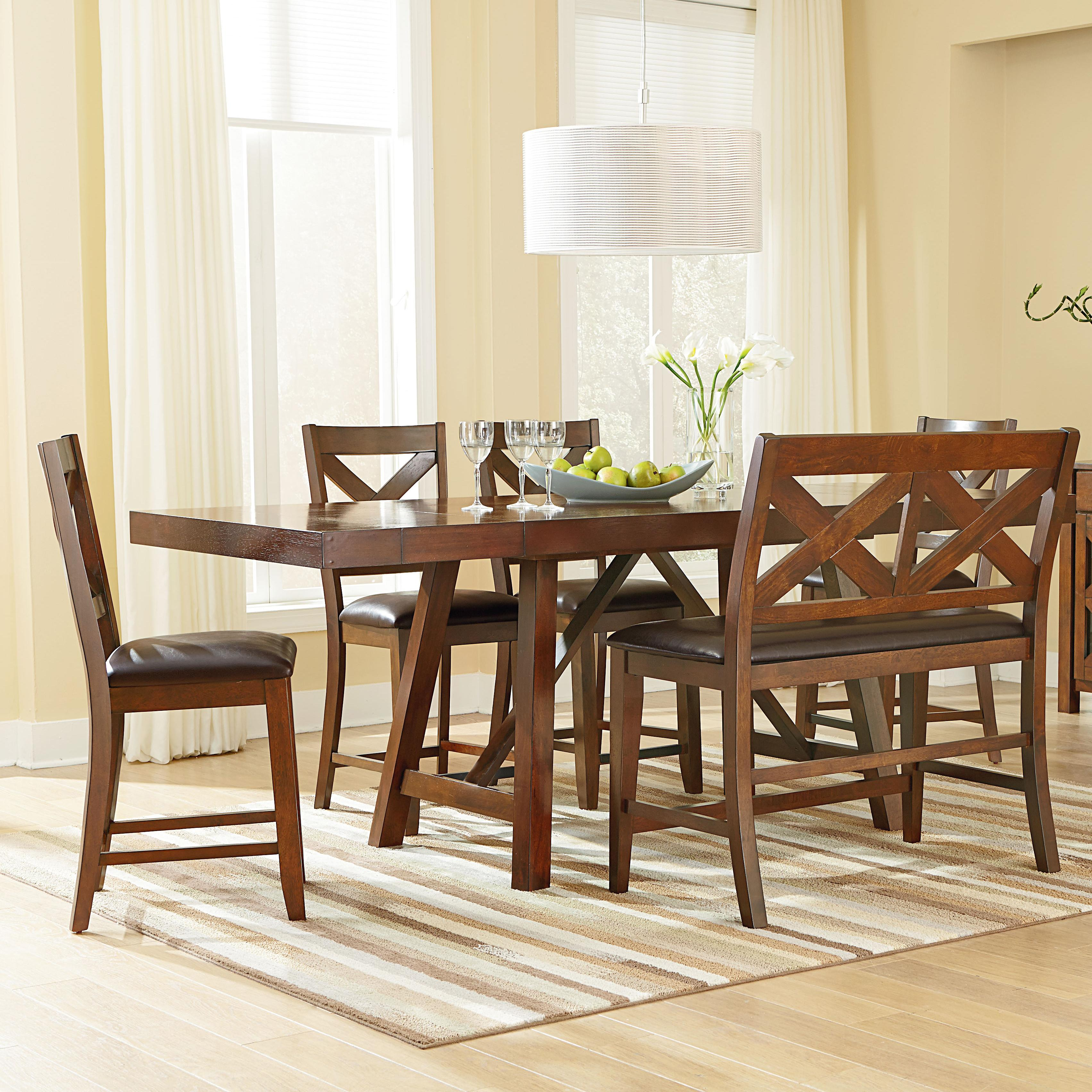 Good 6 Piece Counter Height Table Set With Bench And Bar Stools