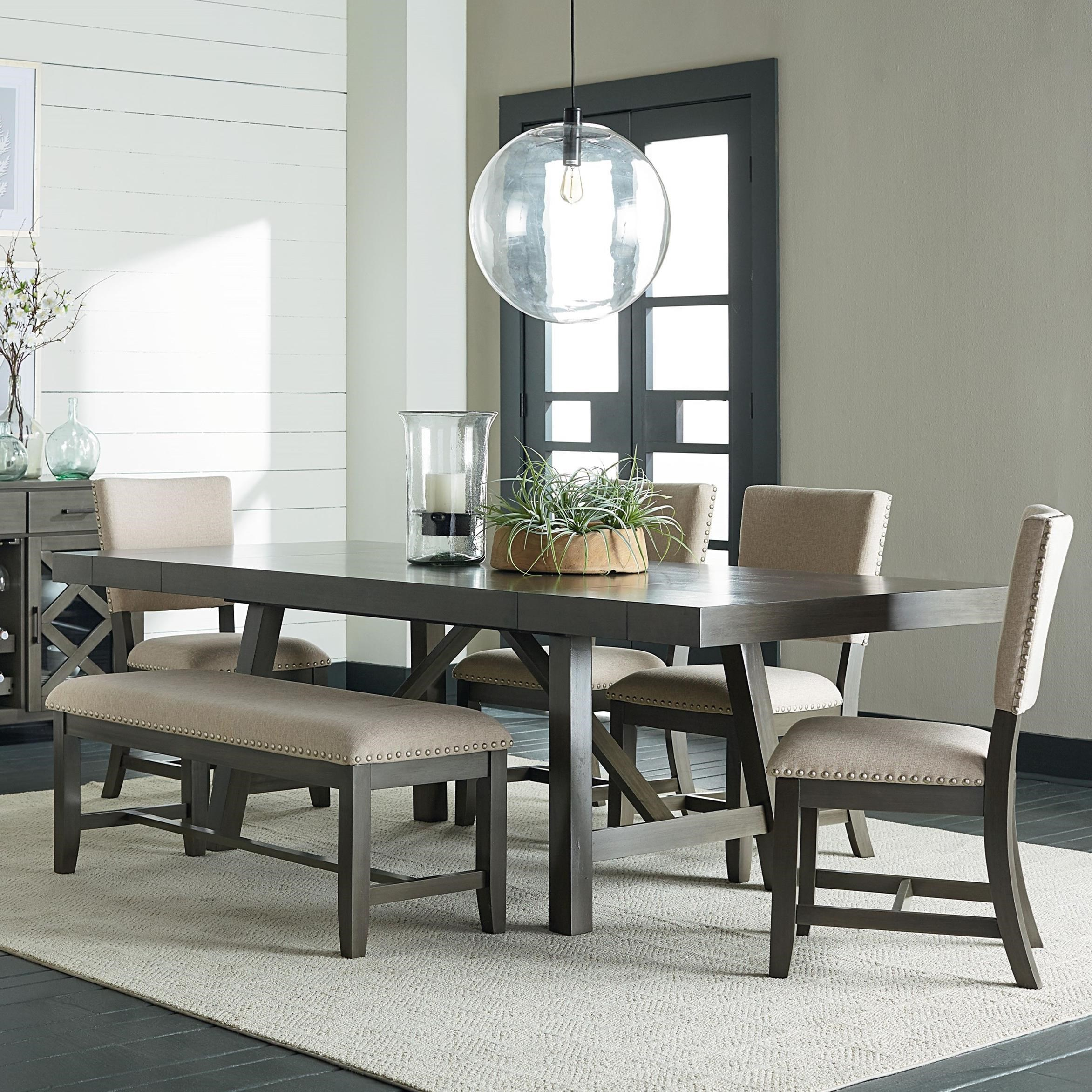6 Piece Trestle Table Dining Set With Dining Bench By