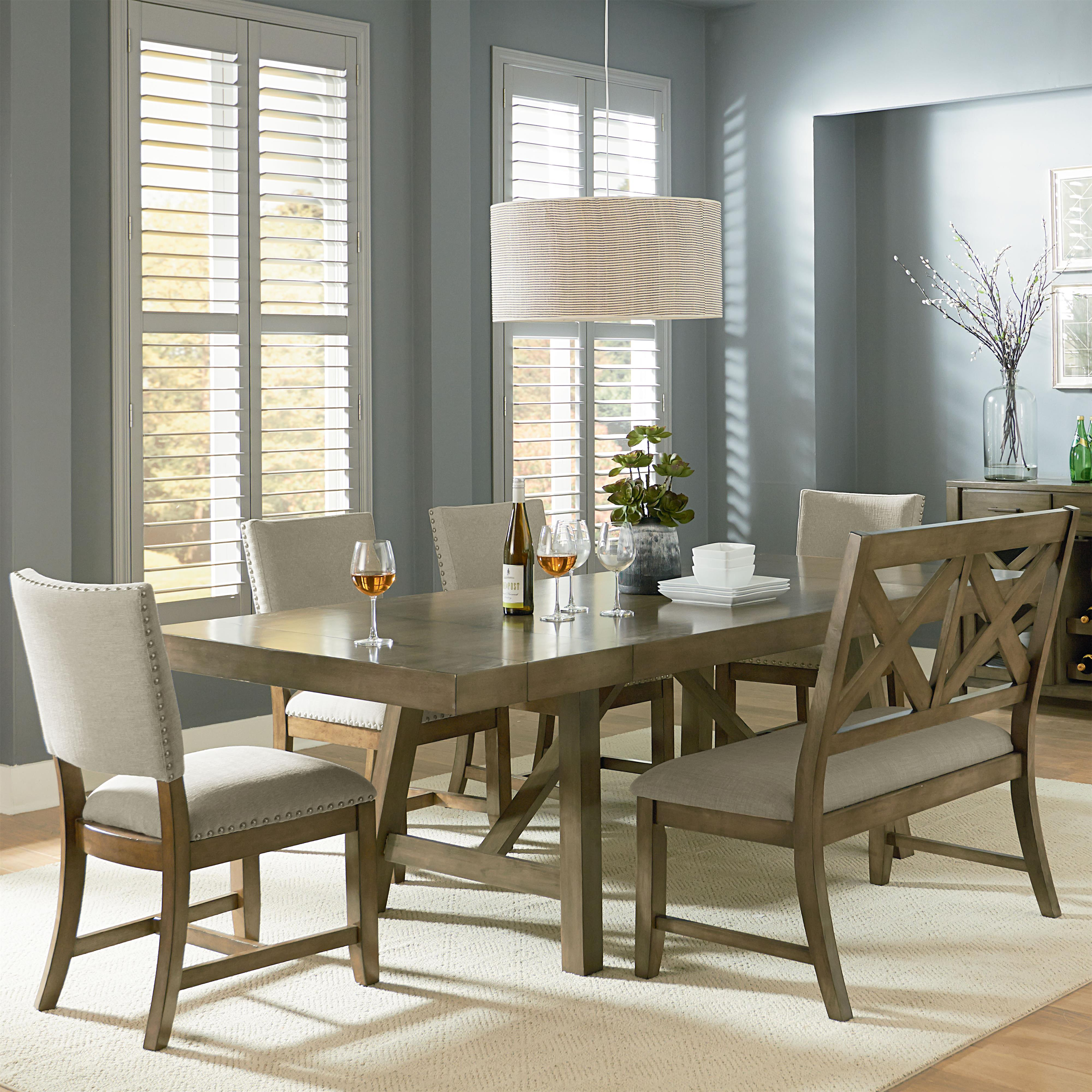 Dining Room Sets: 6 Piece Trestle Table Dining Set With Dining Bench By