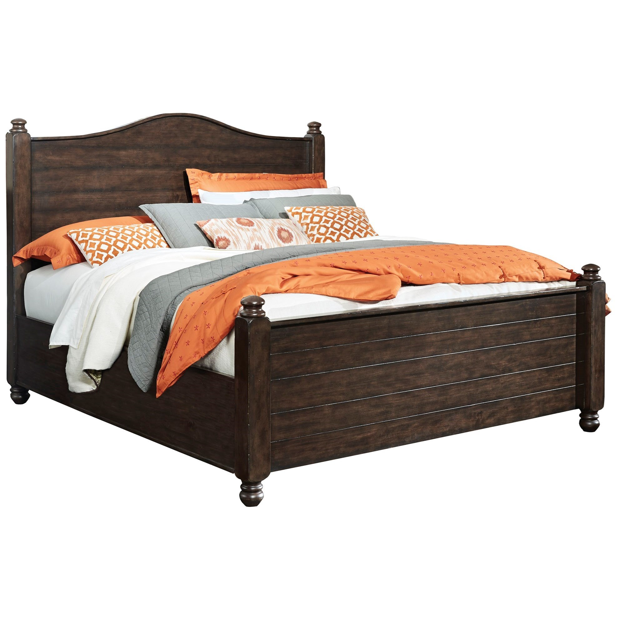 Traditional King Poster Bed With Arched Headboard And Plank Detail