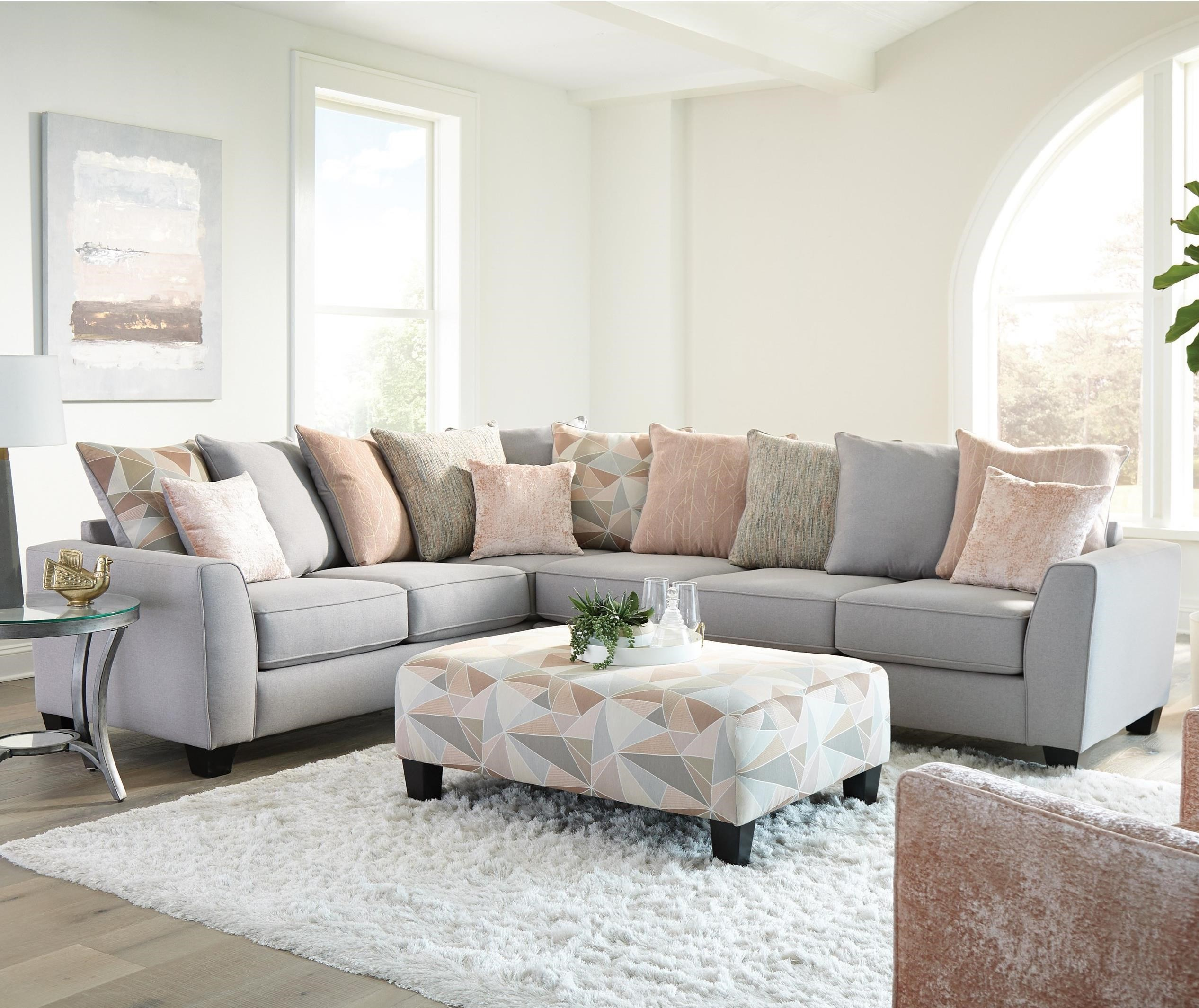 Remarkable Contemporary 5 Seat Sectional Sofa With 12 Pillows By Bralicious Painted Fabric Chair Ideas Braliciousco