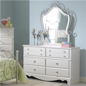 Standard Furniture Spring Rose Dresser with Metal Mirror