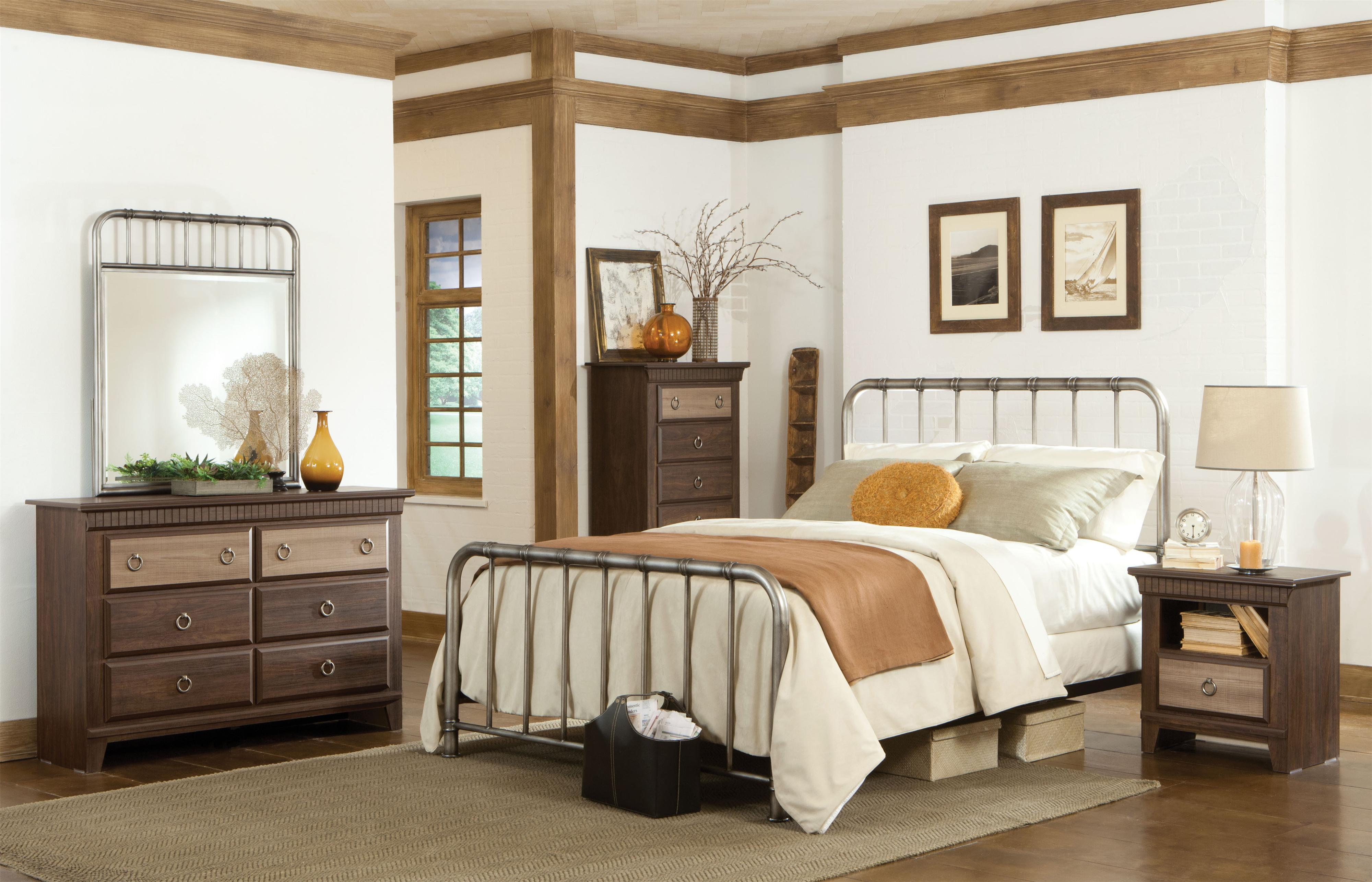 Metal dresser mirror with vertical tubular spindles and for Bed dizain image