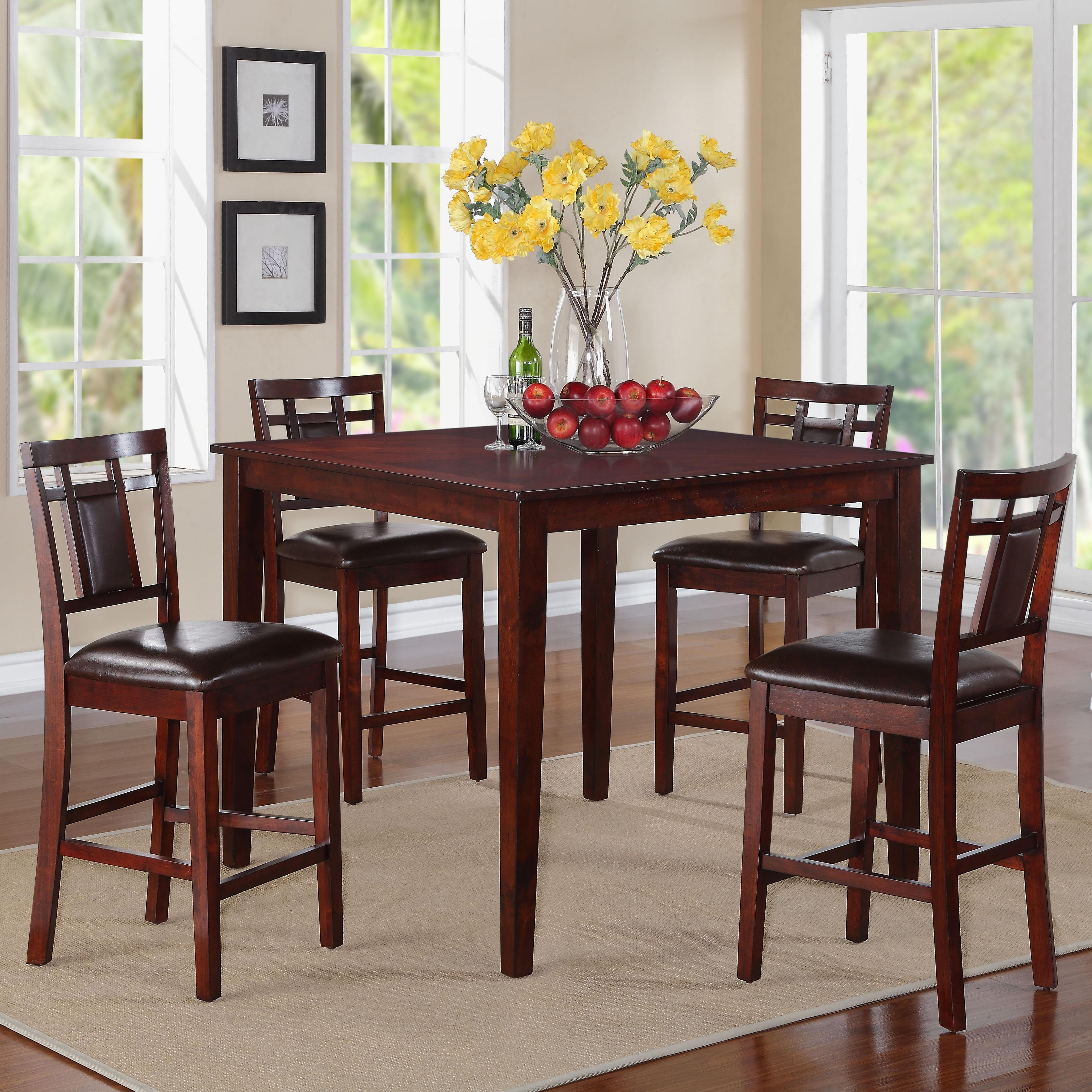 5 Piece Counter Height Table With Stools Set By Standard Furniture