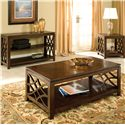 Standard Furniture Woodmont Rectangular Sofa Table with 3 Shelves & Scroll Sides - Shown with Cocktail & End Tables