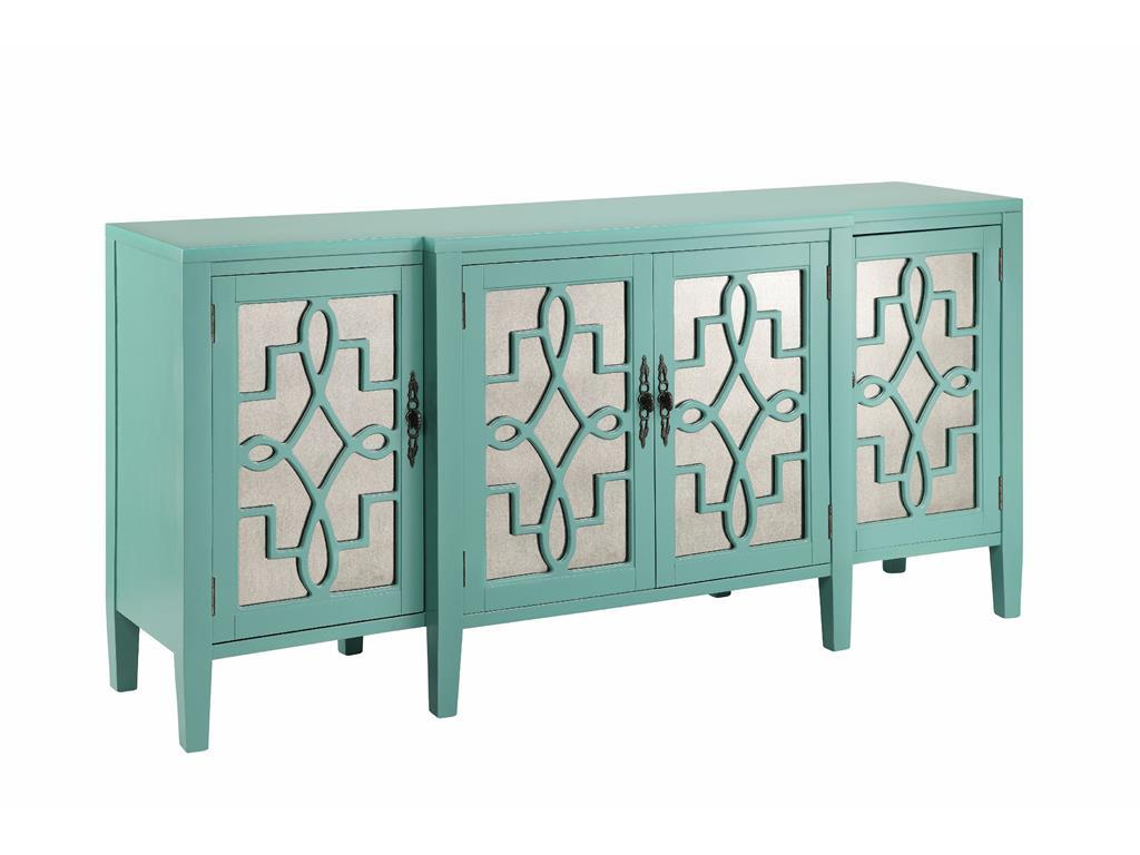 Charmant 4 Door Mirrored Credenza In Robinu0027s Egg Blue