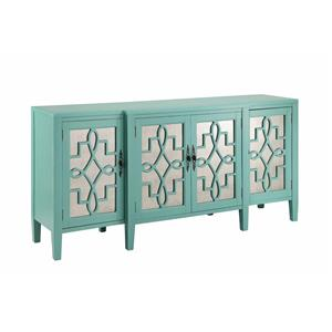 4 Door Mirrored Credenza In Robinu0027s Egg Blue