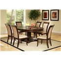 Steve Silver Marseille Transitional Upholstered Seat and Back Dining Side Chair - Shown with Pedestal Table
