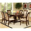 Steve Silver Marseille 7-Piece Round Top Pedestal Table and Upholstered Side Chair Dining Set