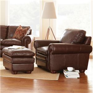 Steve Silver Yosemite Transitional Chair with Ottoman