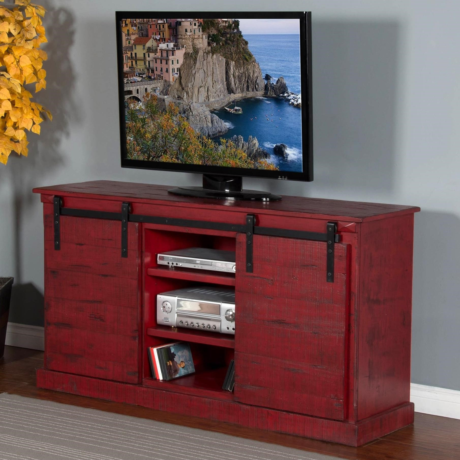 Shop tv stands wolf and gardiner wolf furniture 65 tv console w barn doors geotapseo Image collections