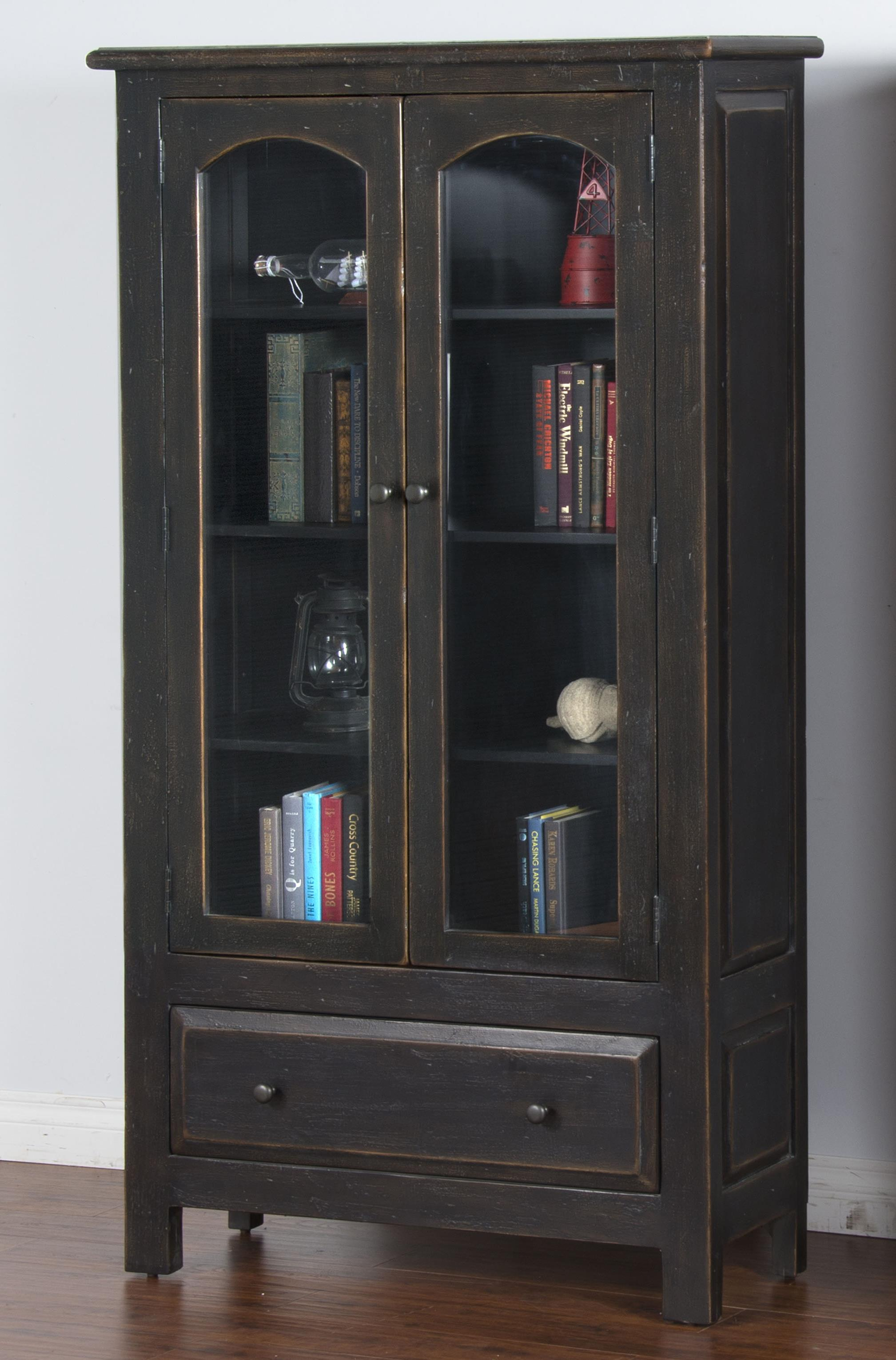 Distressed Finish 2 Door Display Cabinet & Distressed Finish 2 Door Display Cabinet by Sunny Designs | Wolf and ...