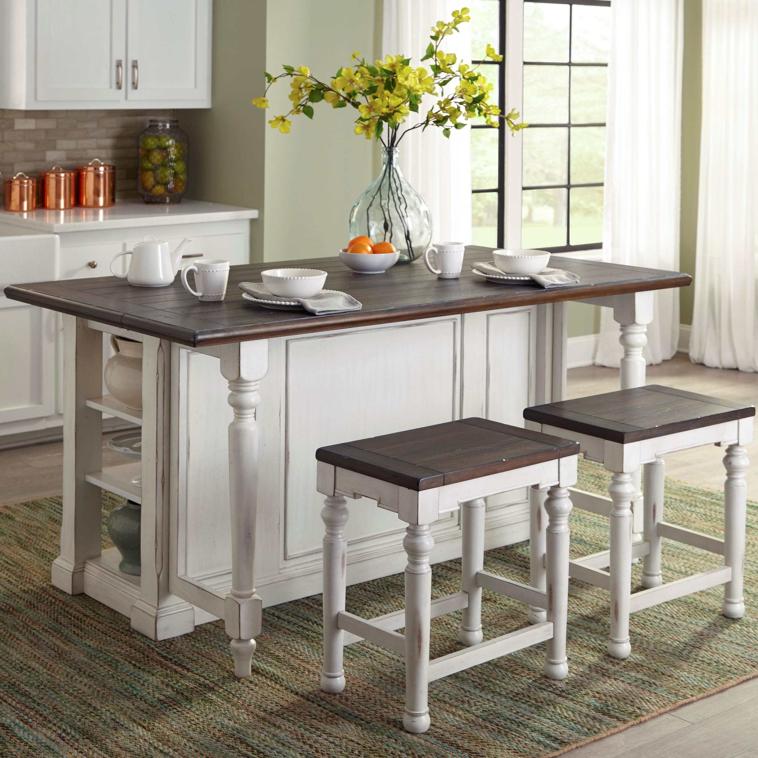 Kitchen Island Table And Chairs: 3 Piece Kitchen Island Set With Gate Leg By Sunny Designs