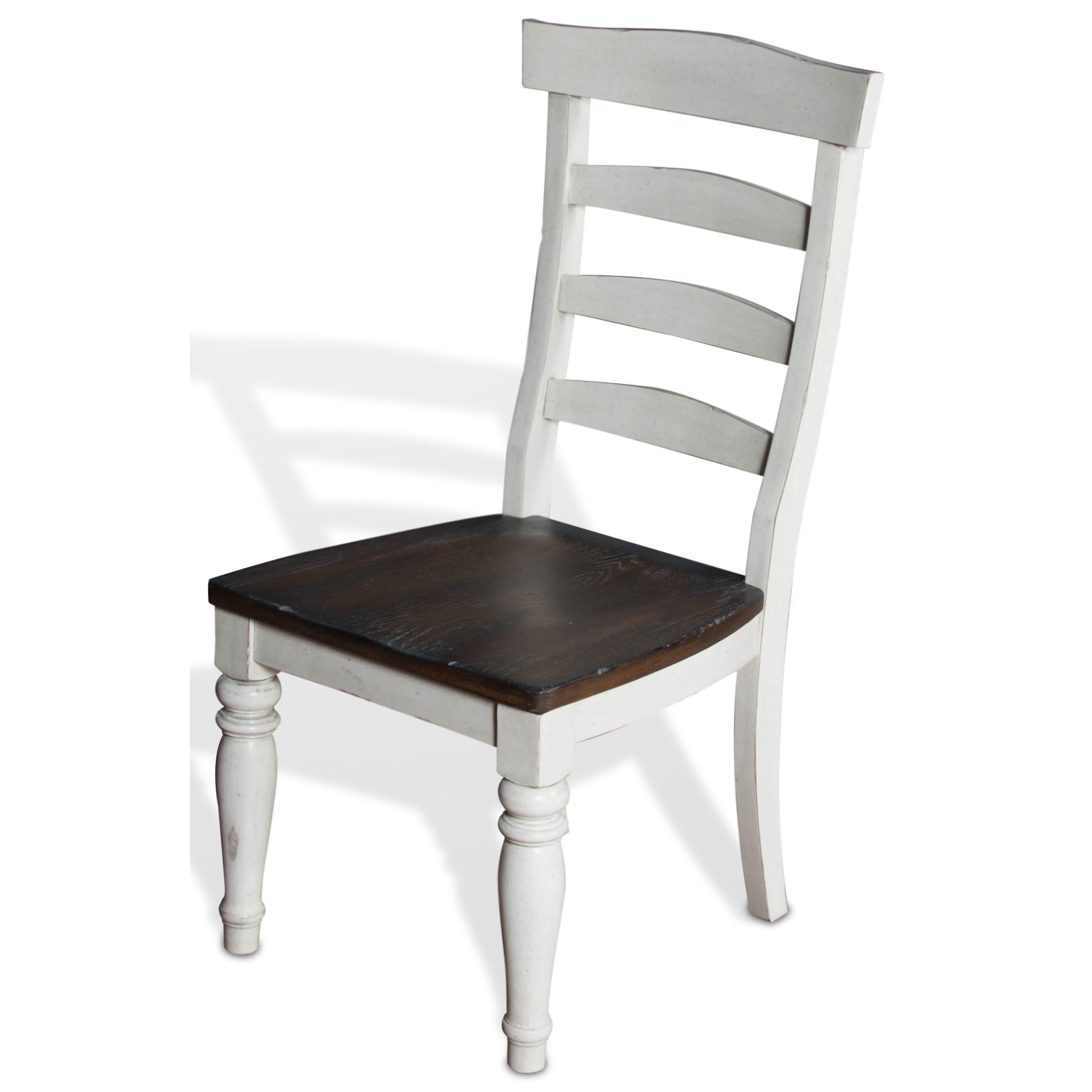 Two Tone Ladderback Chair W/ Wood Seat
