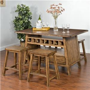 Sunny Designs Cornerstone 5-Piece Table with Storage Set