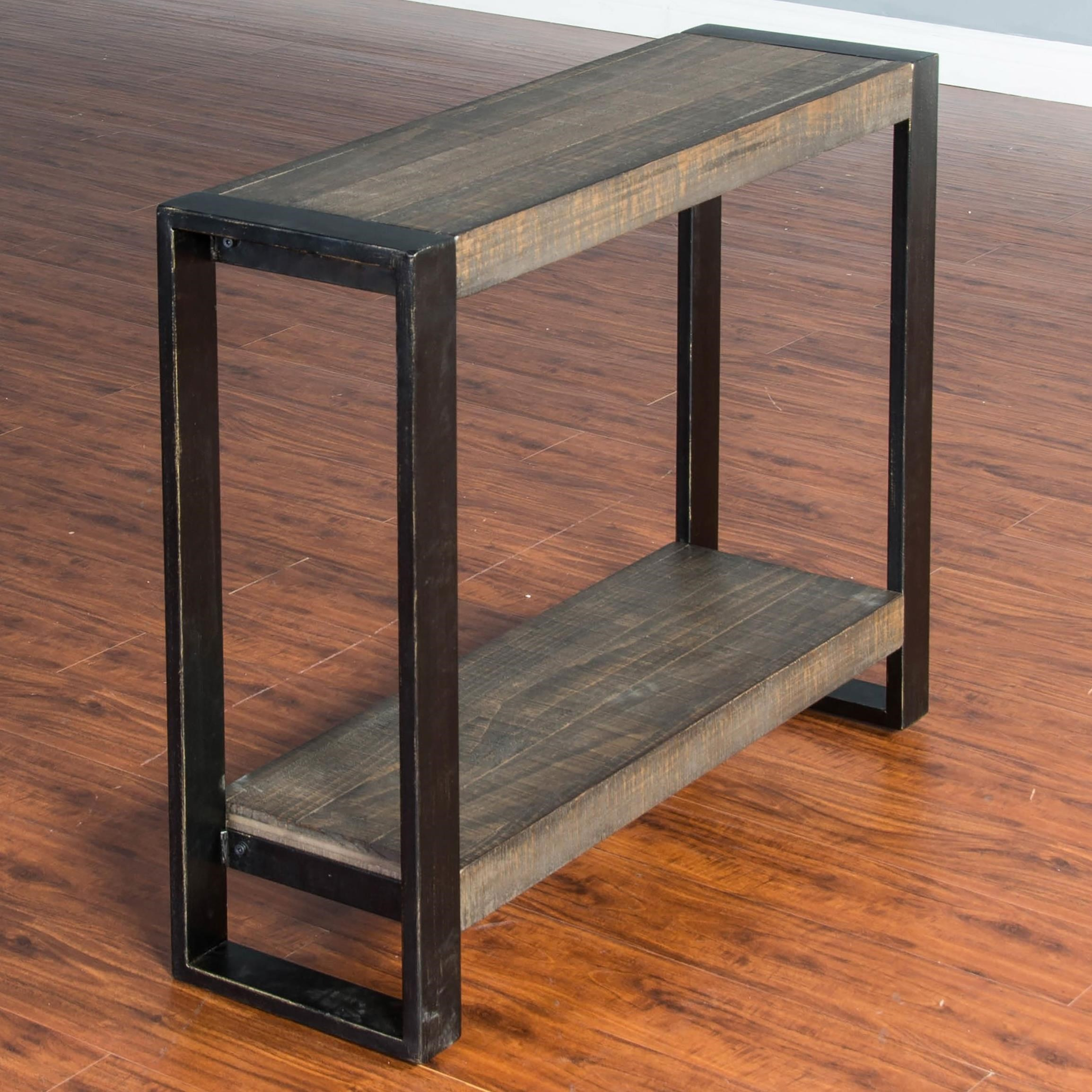 Bon Distressed Pine Chair Side Table (Large) With Industrial Metal Frame