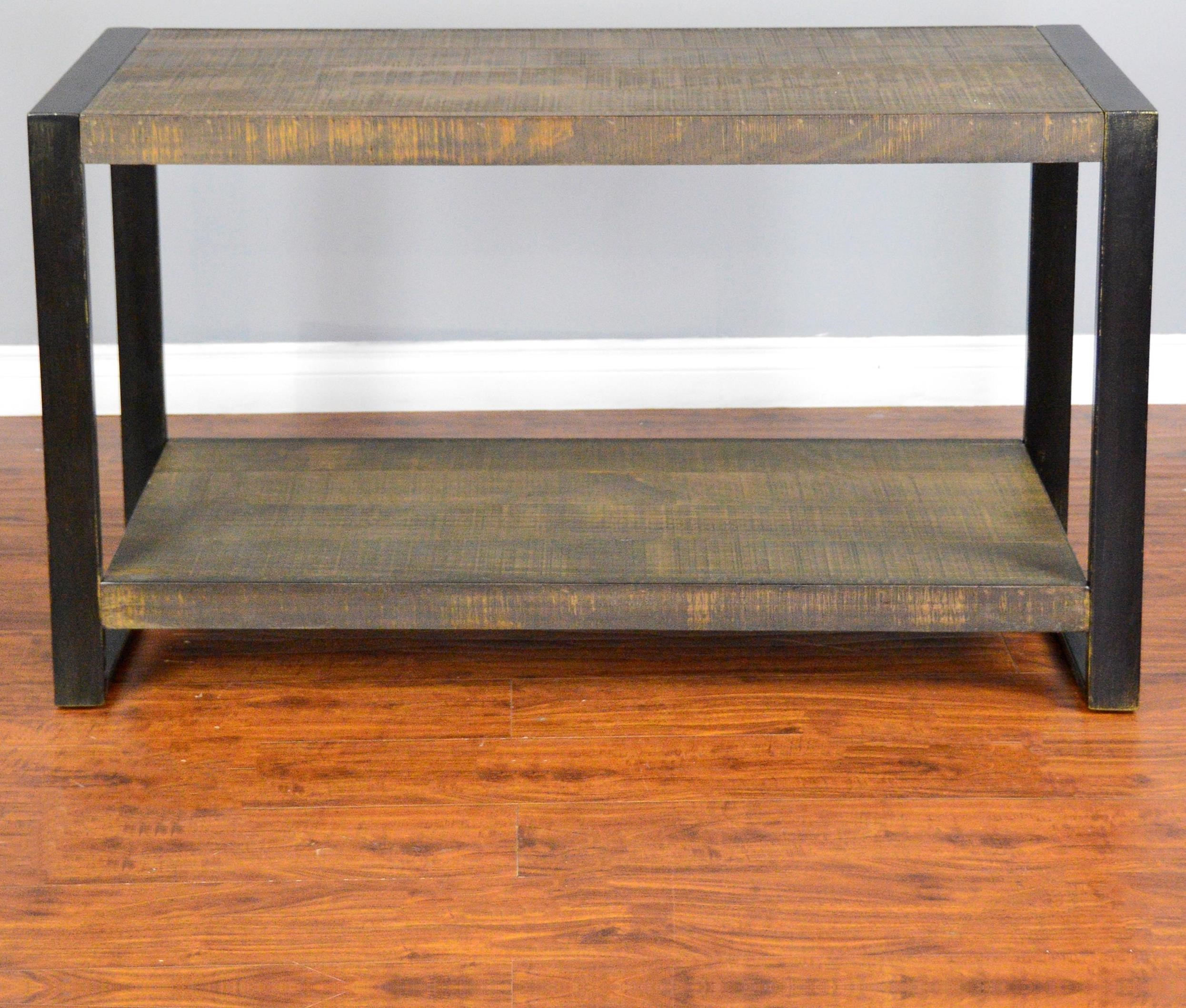 Distressed pine sofa console table with industrial metal