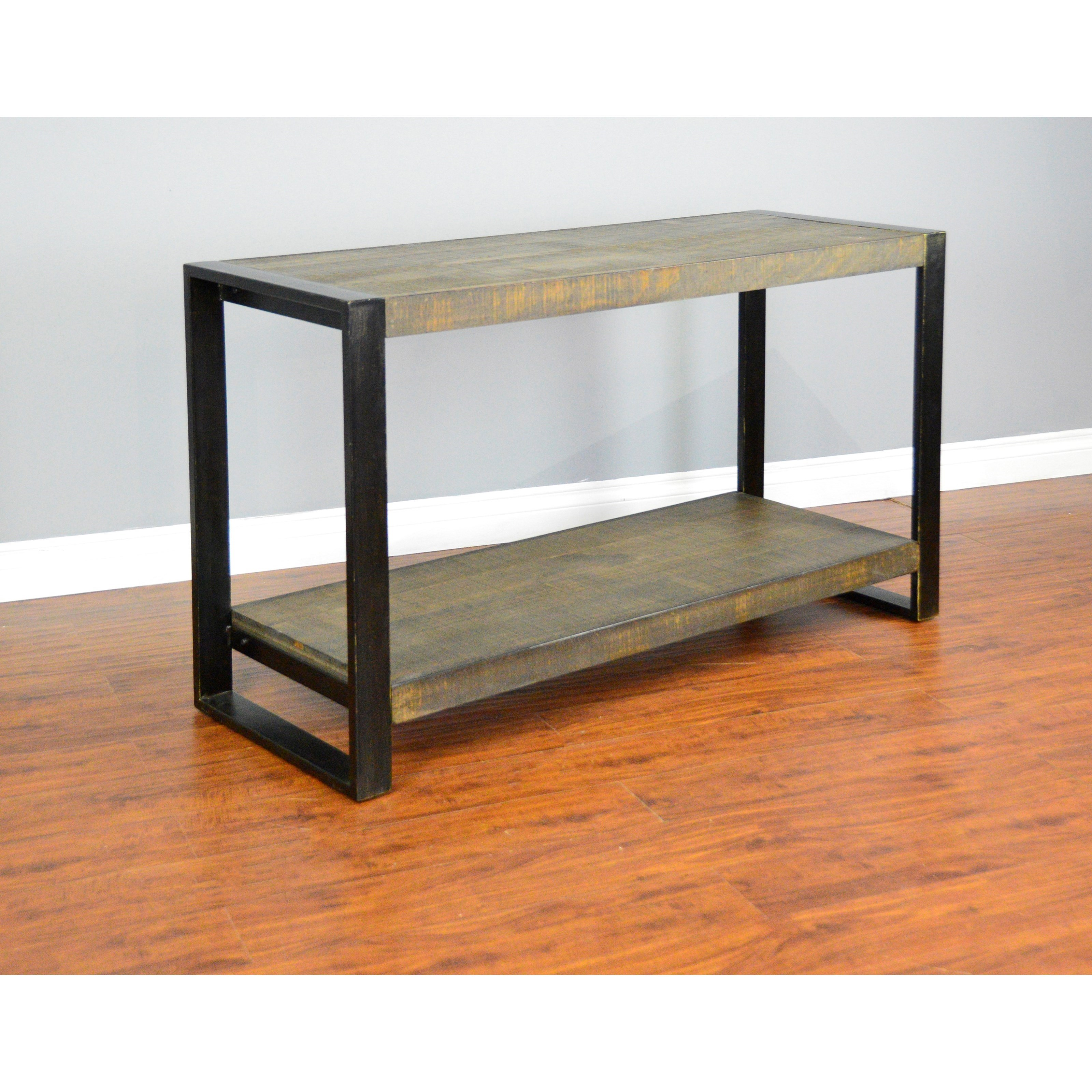 Console Tables With Picture Frames ~ Distressed pine sofa console table with industrial metal