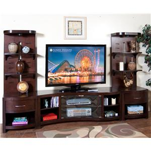 "Sunny Designs Espresso 60"" TV Console and 2 Piers"