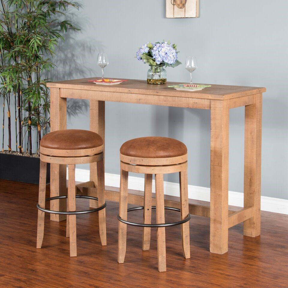 Rustic Rectangular Pub Table With Distressed Finish By Sunny Designs - Distressed wood pub table