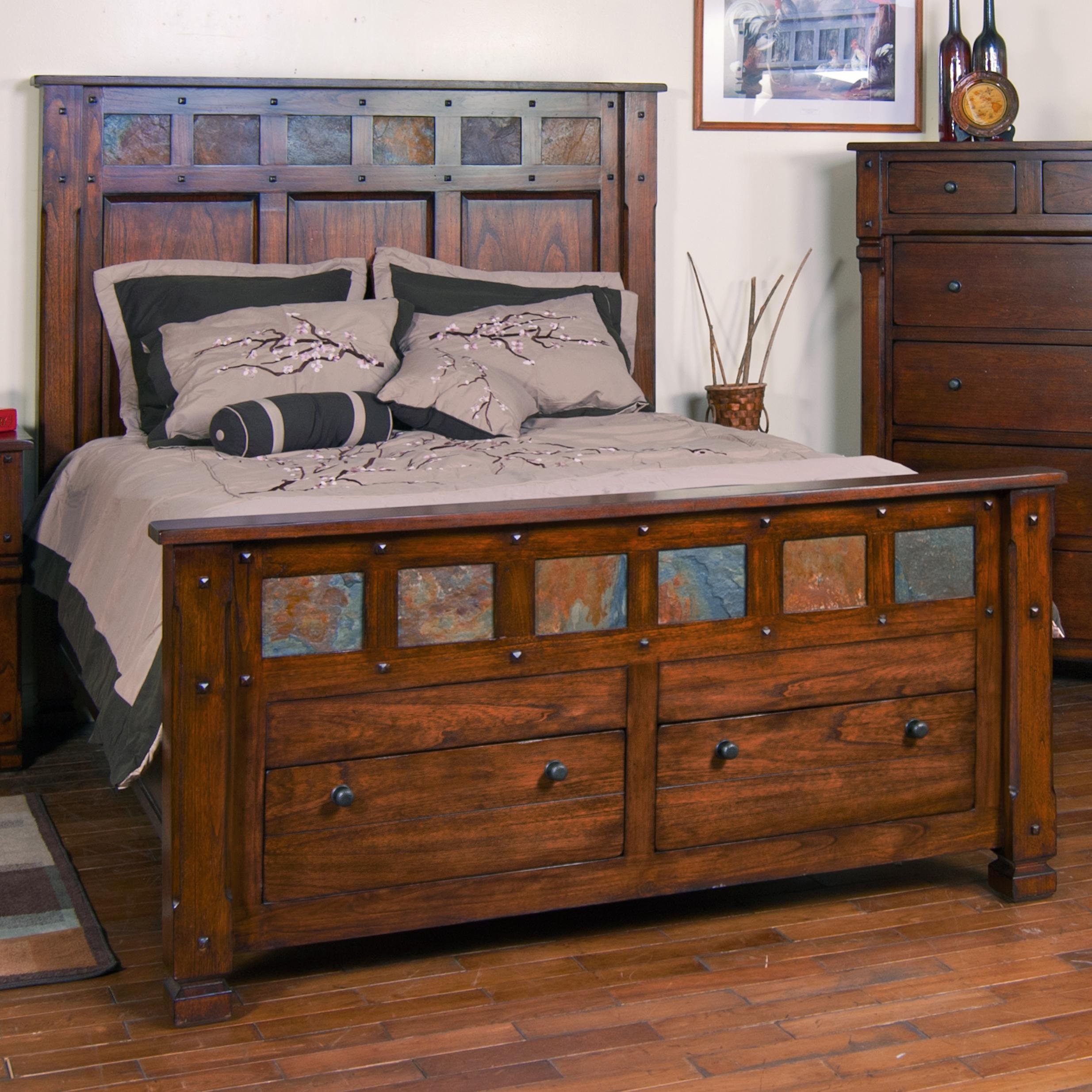 king storage bed with slate