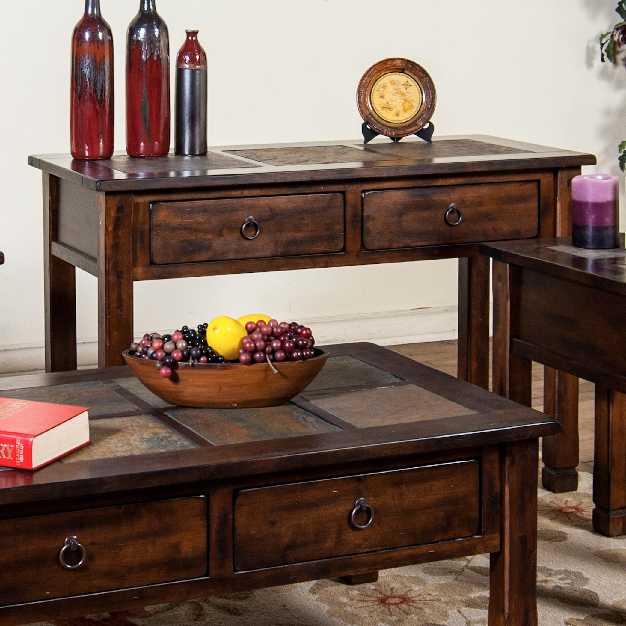 Sofaconsole table w slate top by sunny designs wolf and sofaconsole table w slate top geotapseo Gallery