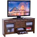 Sunny Designs Santa Fe Rustic 108 Inch Open Display Wall Unit - Detail of Game Drawer