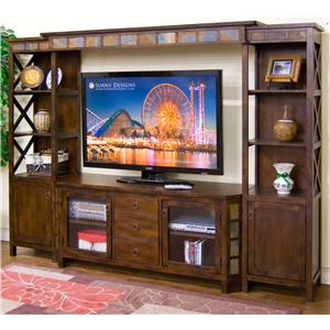"Sunny Designs Santa Fe 4-Piece Entertainment Wall w/ 60"" TV Console"