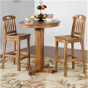 Sunny Designs Sedona 3 Piece Bar Set with Slatback Stools